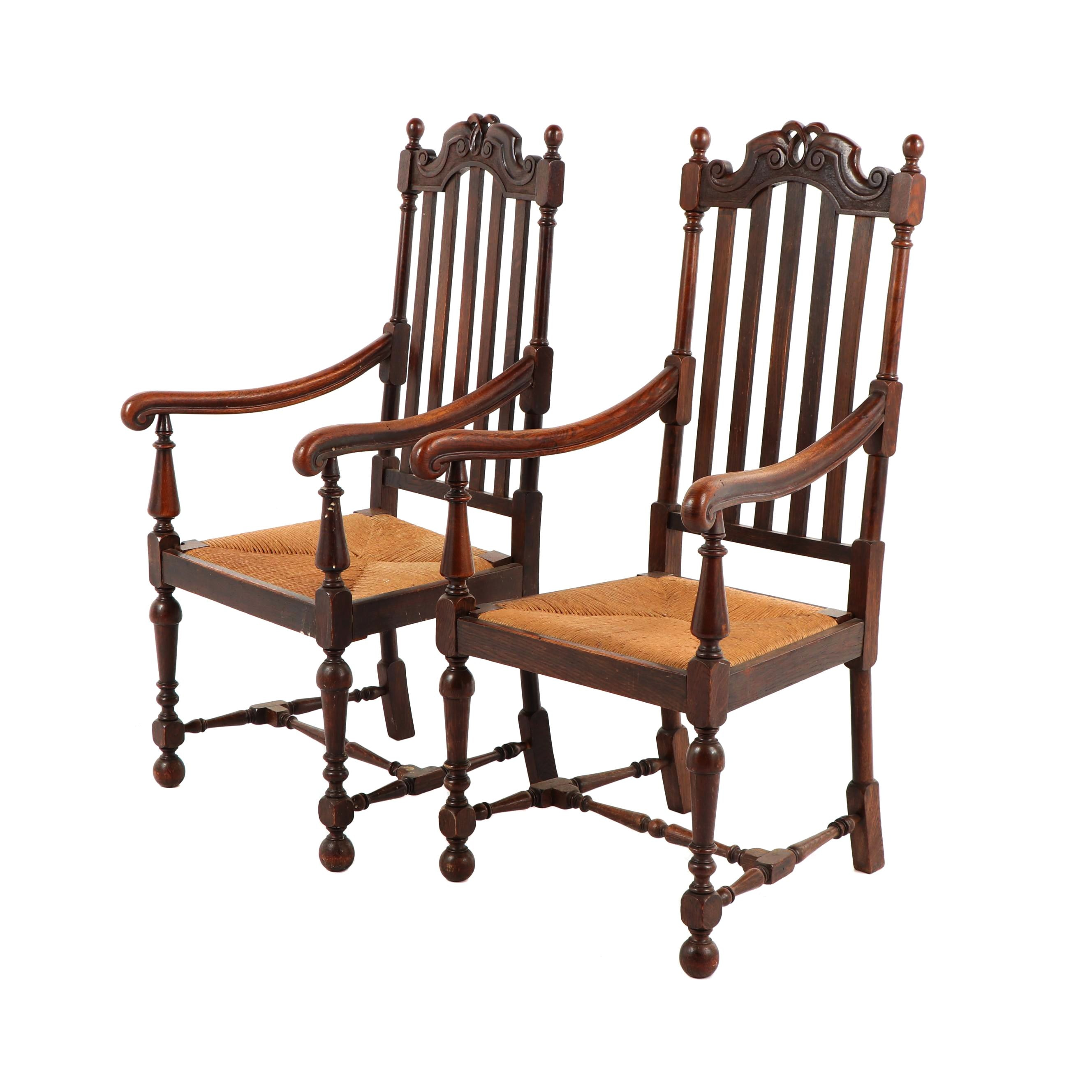 Jacobean Revival Style Armchairs with Rush Seats, Early 20th Century