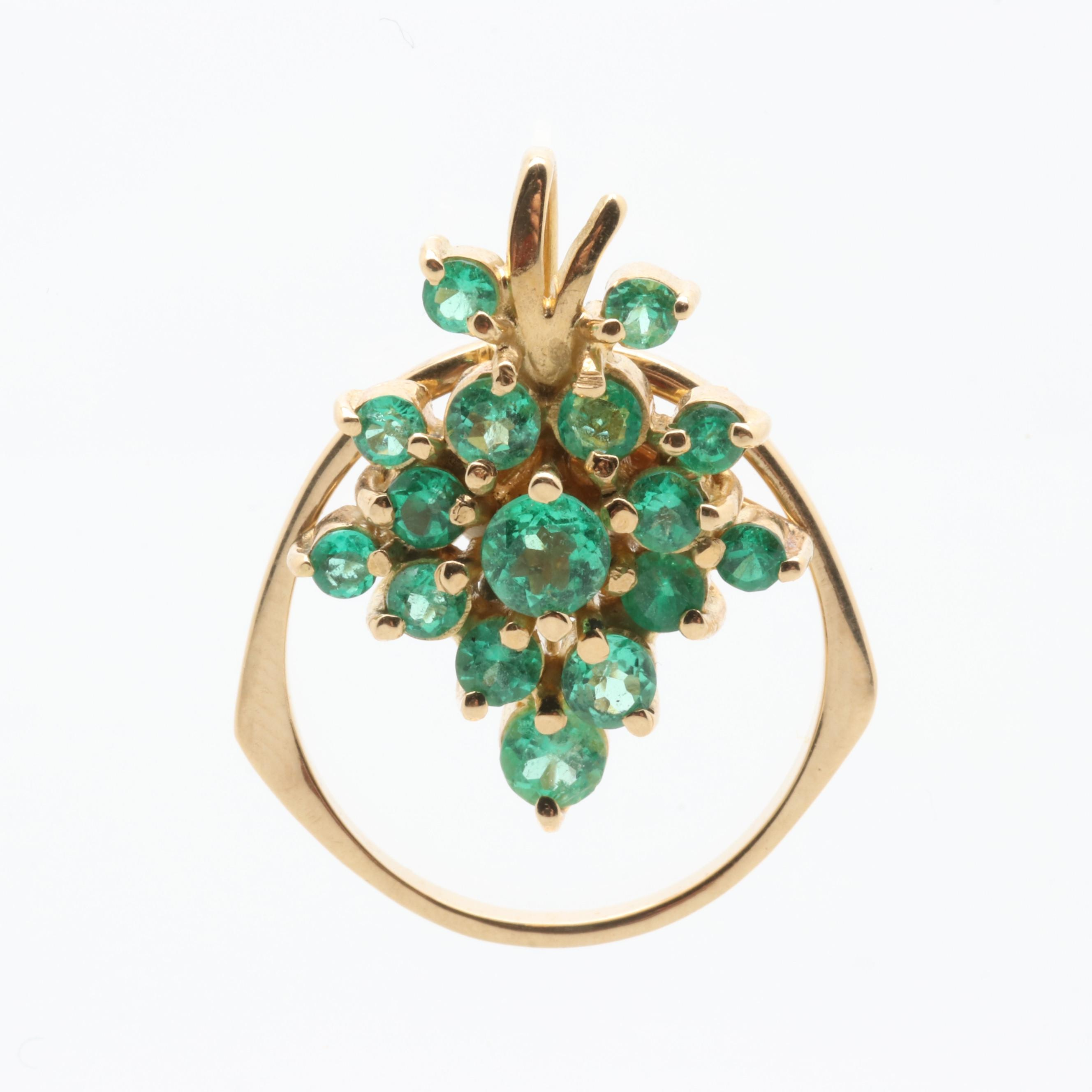 18K Yellow Gold Emerald and Diamond Converter Ring Pendant