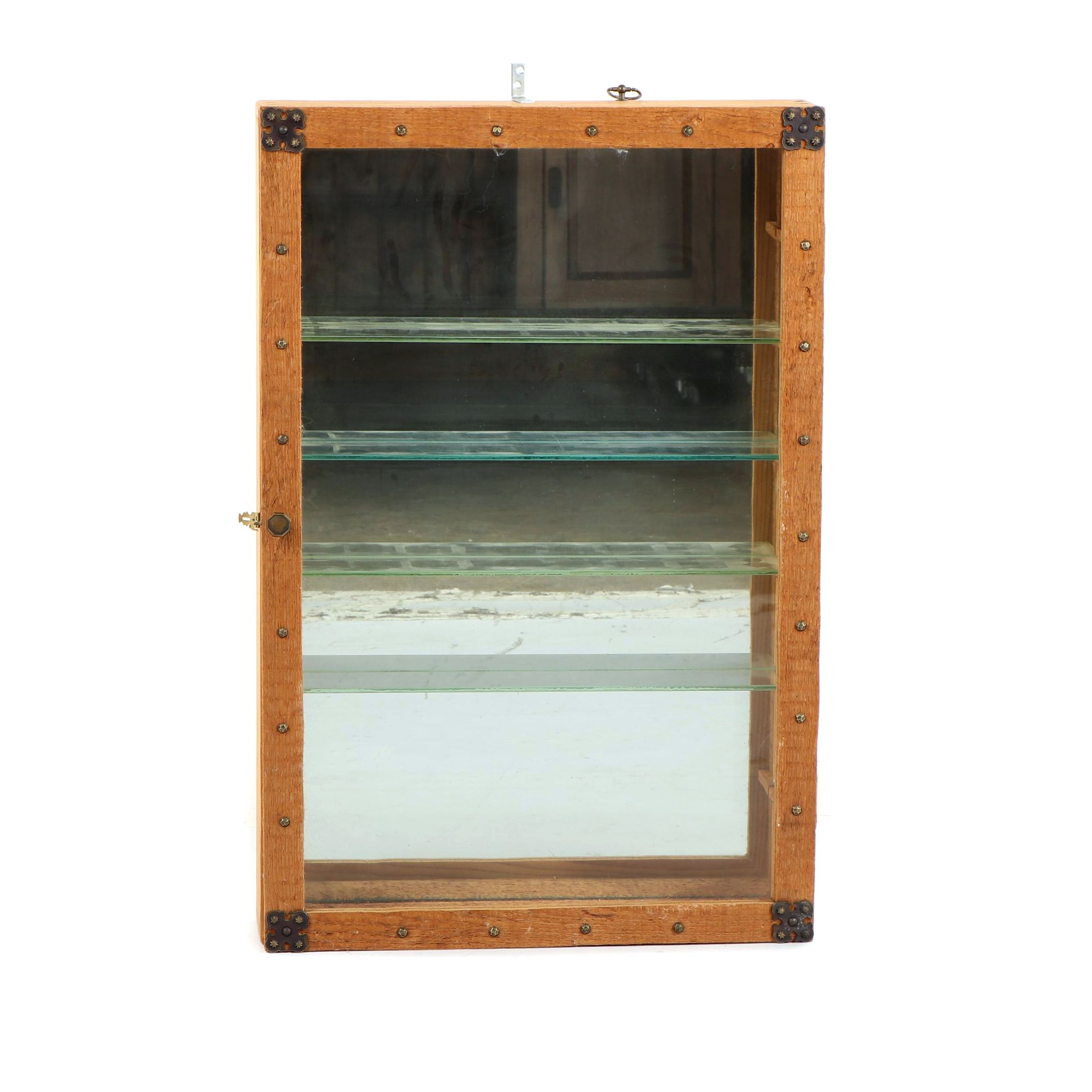 Pine Wall Mount Display Cabinet with Mirrored Back, Mid 20th Century