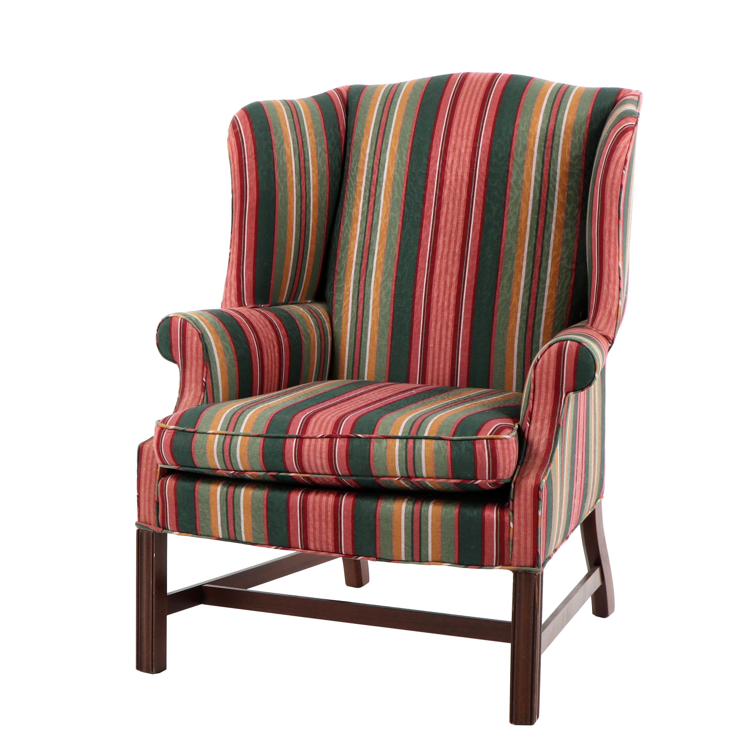 Chippendale Style Upholstered Wingback Armchair, Late 20th Century