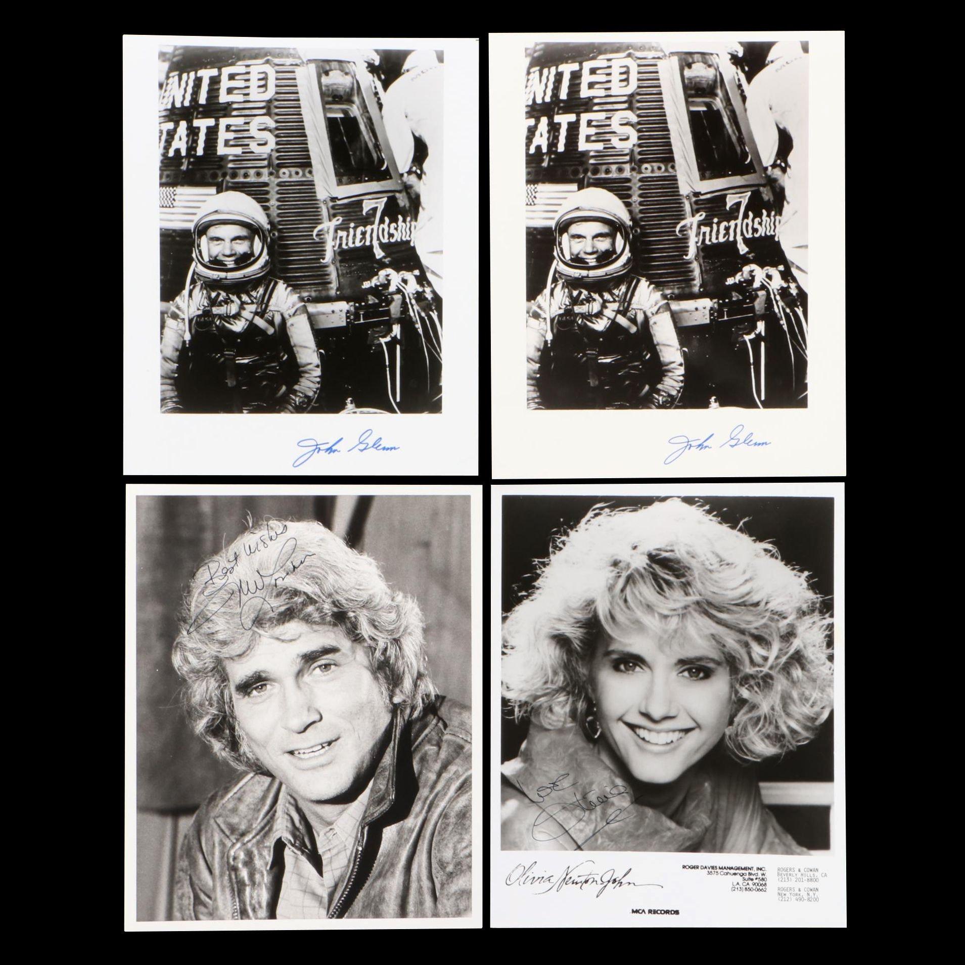 John Glenn, Olivia Newton John, and Michael Landon Signed Photo Prints