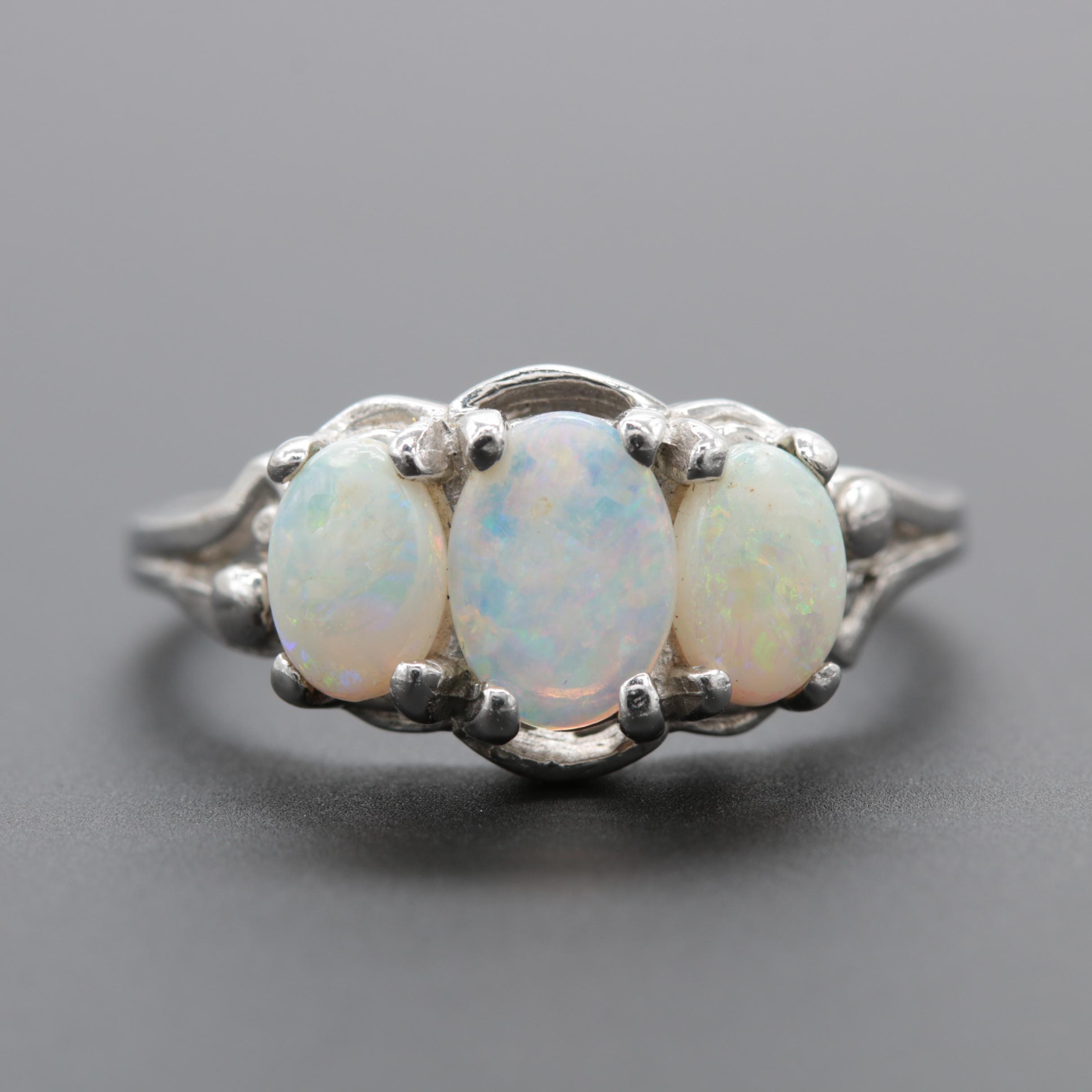 10K White Gold Opal Ring