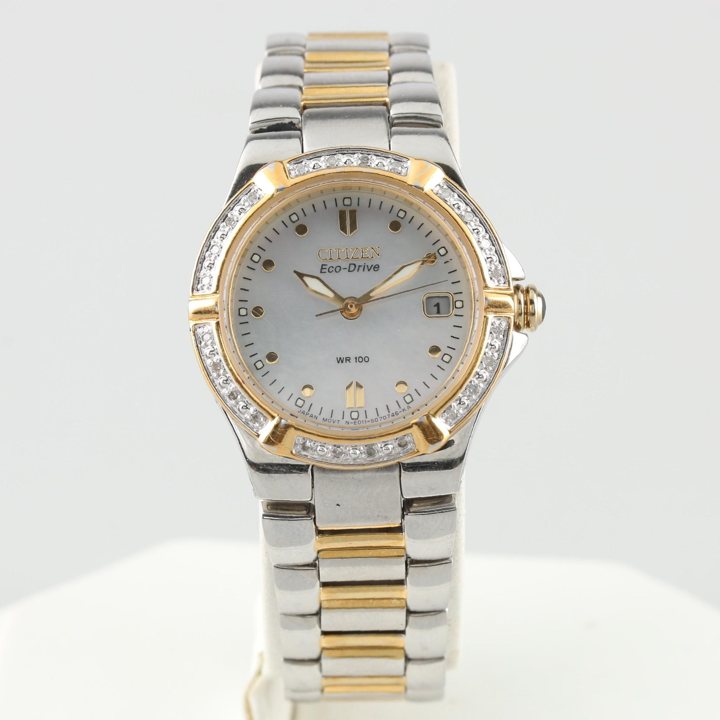 Citizen Eco-Drive E011 Two-Tone Diamond and Mother of Pearl Wristwatch