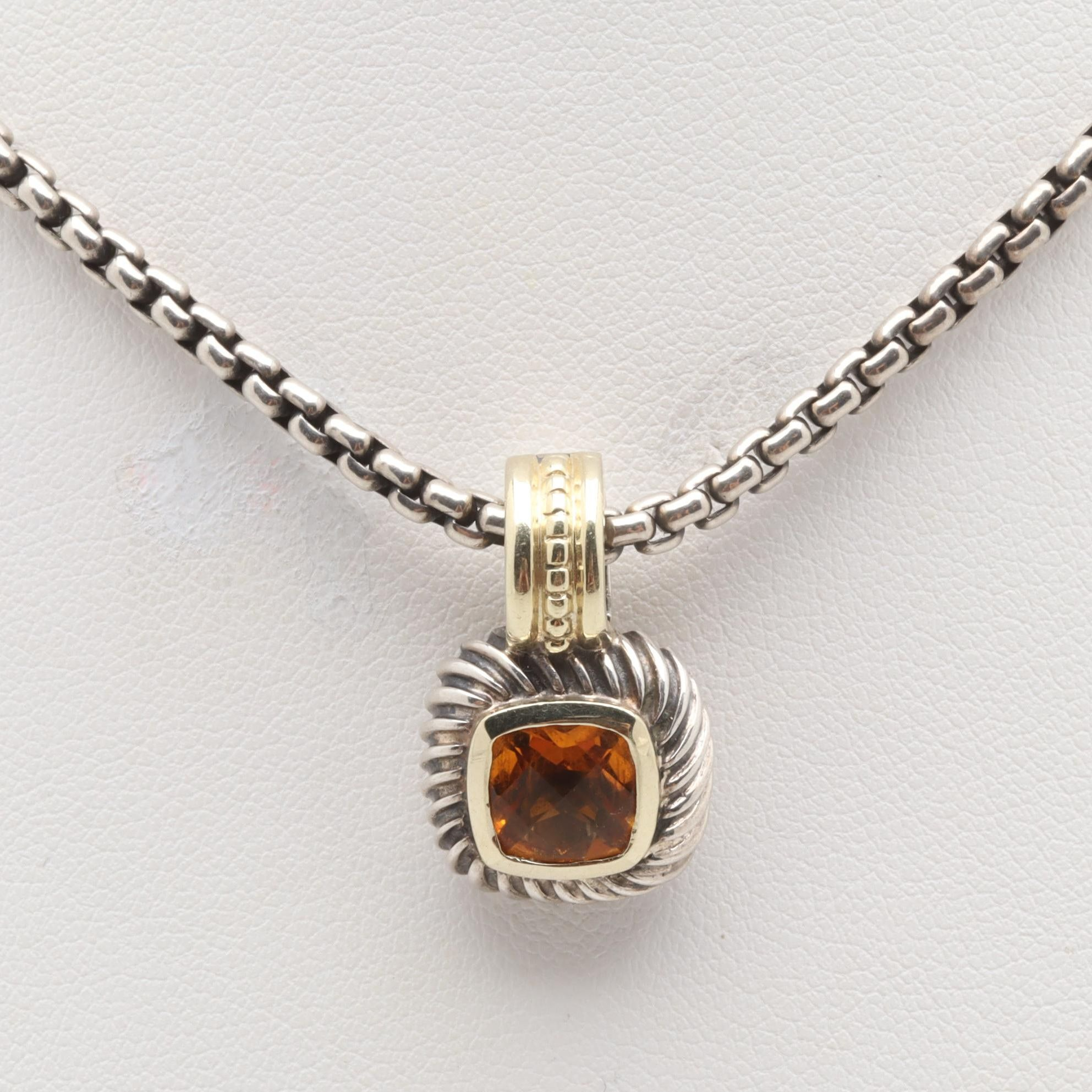 David Yurman Sterling Silver Citrine Necklace with 14K Yellow Gold Accents