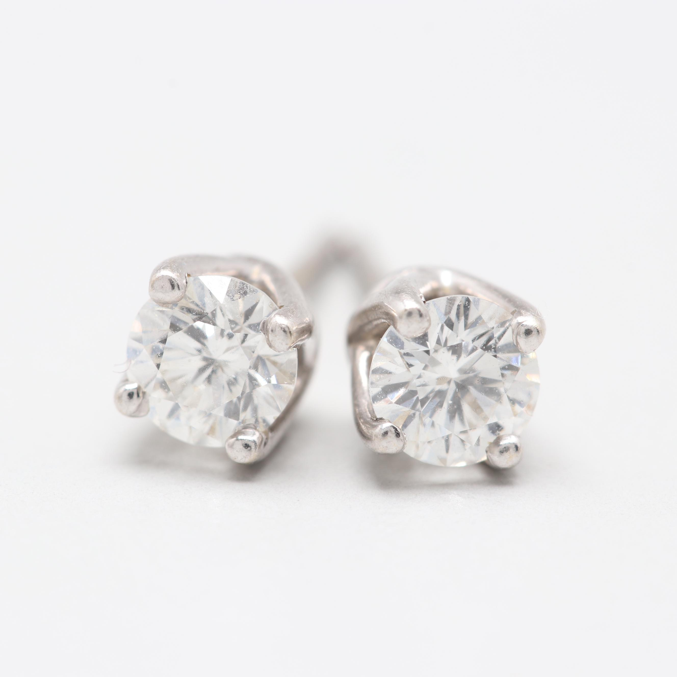 14K Yellow Gold Daimond Stud Earrings