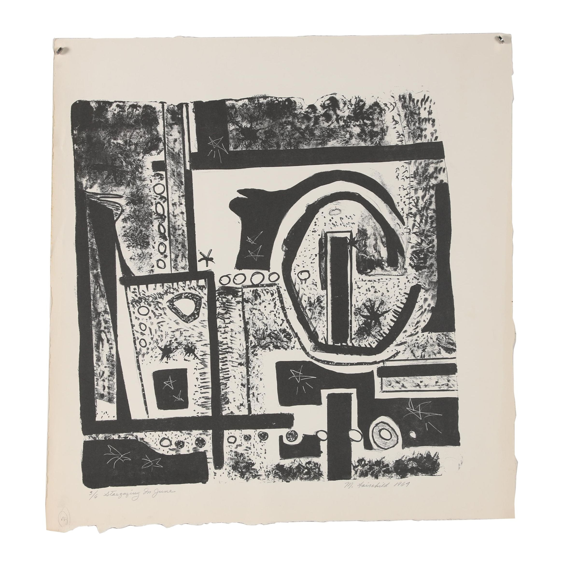 "Martha Fairchild 1964 Limited Edition Woodblock ""Stargazing in June"""