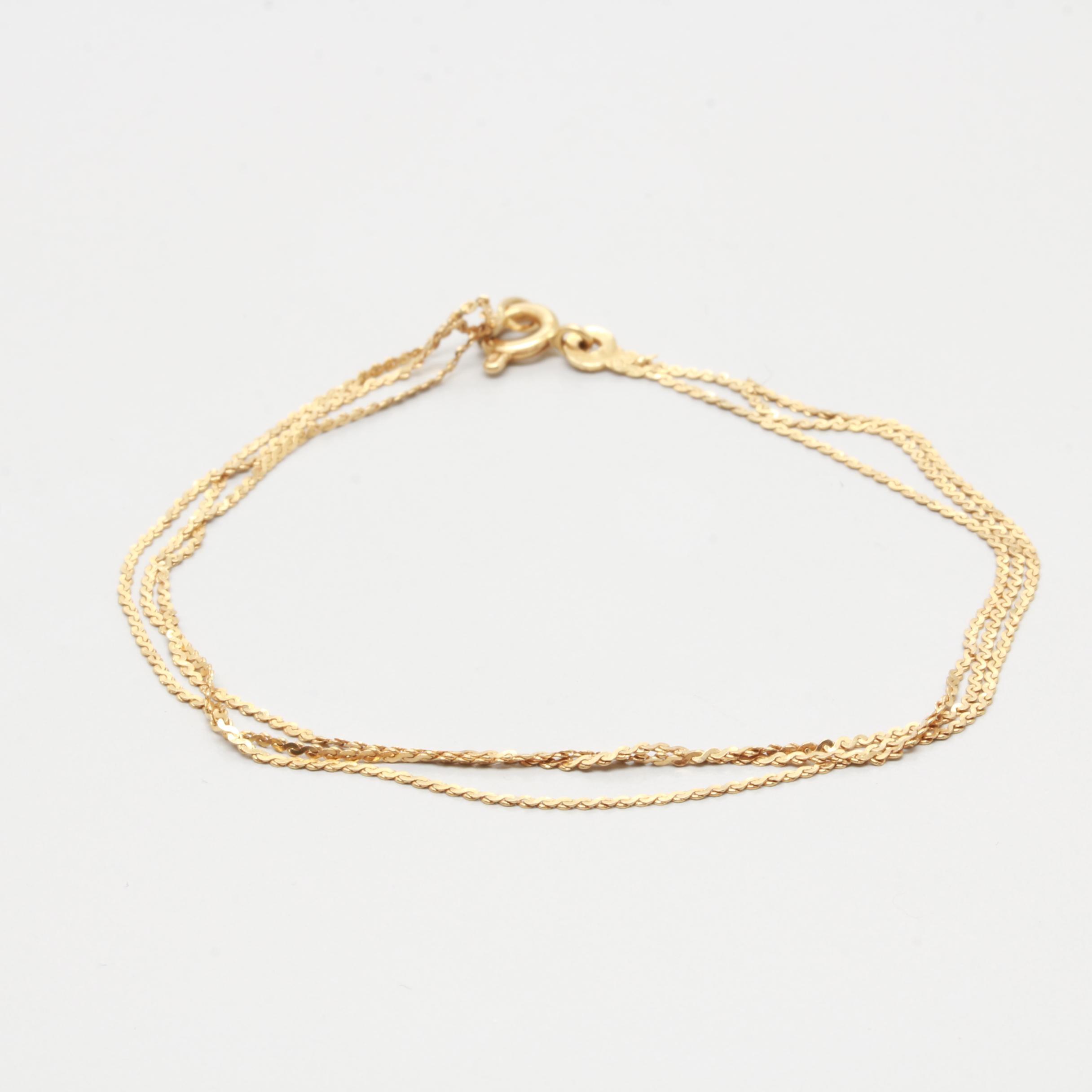 18K Yellow Gold Tri Strand Serpentine Bracelet