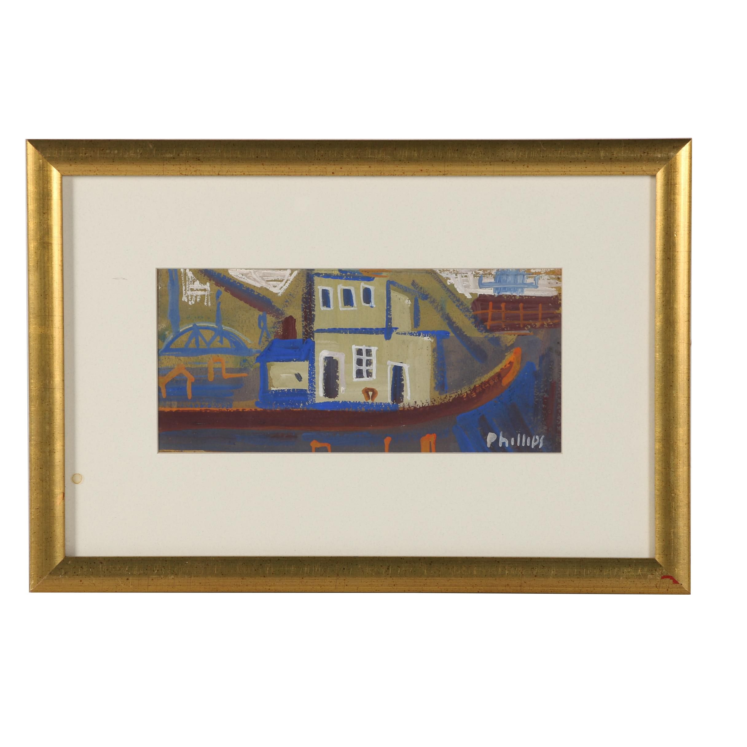 Esther Phillips Gouache Painting Abstract Harbor Scene