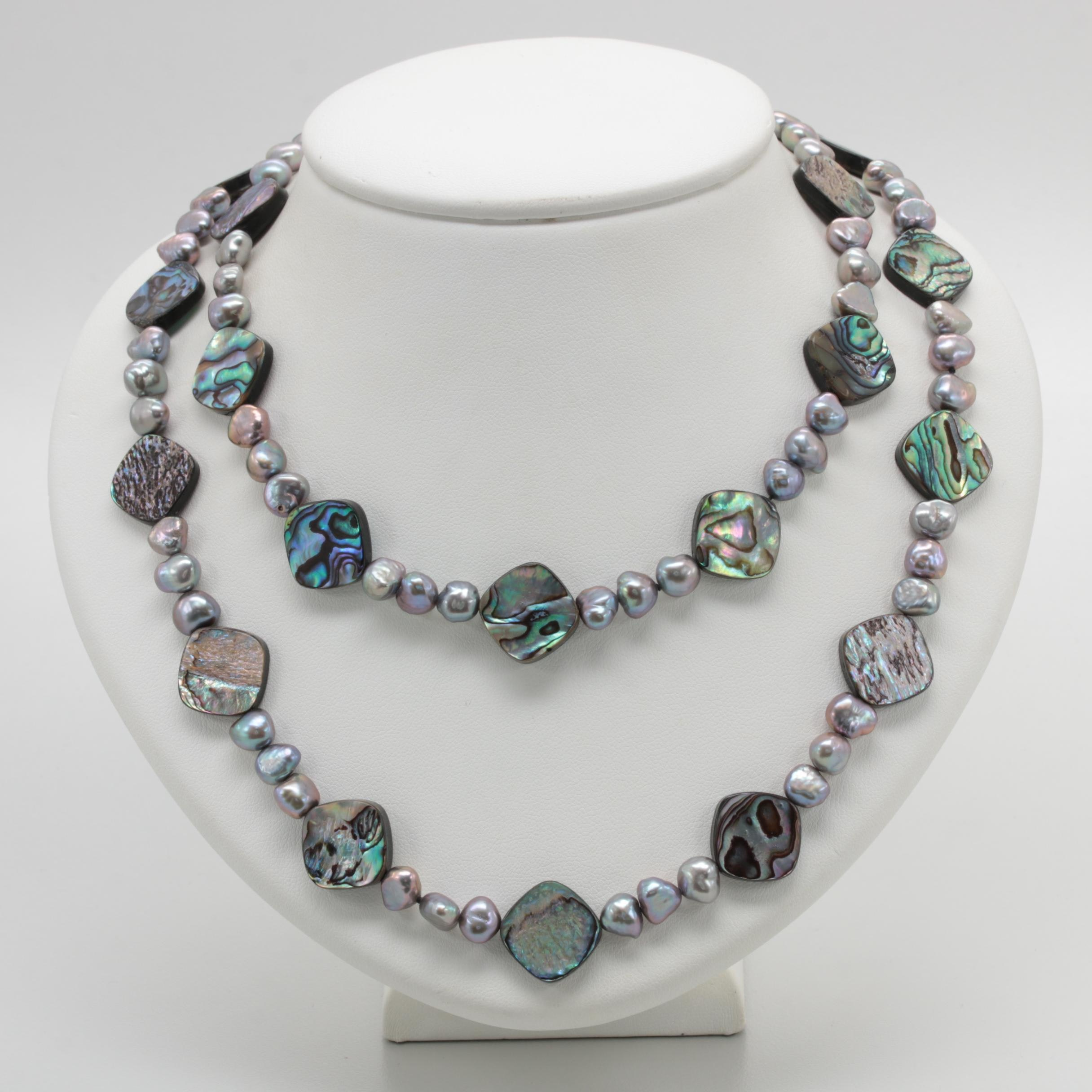 14K Yellow Gold Abalone and Cultured Pearl Necklace