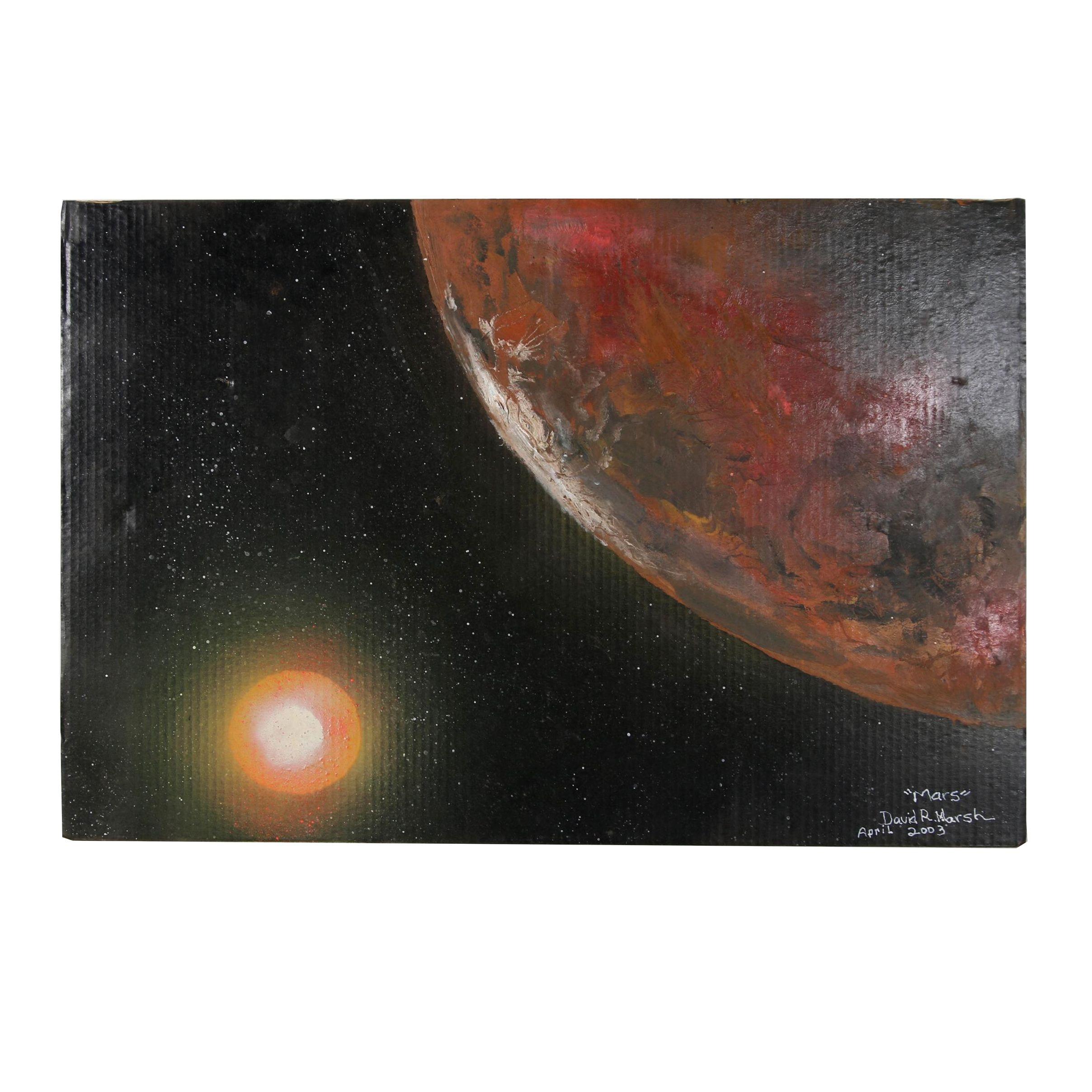 "David R. Marsh 2003 Mixed Media Painting ""Mars"""