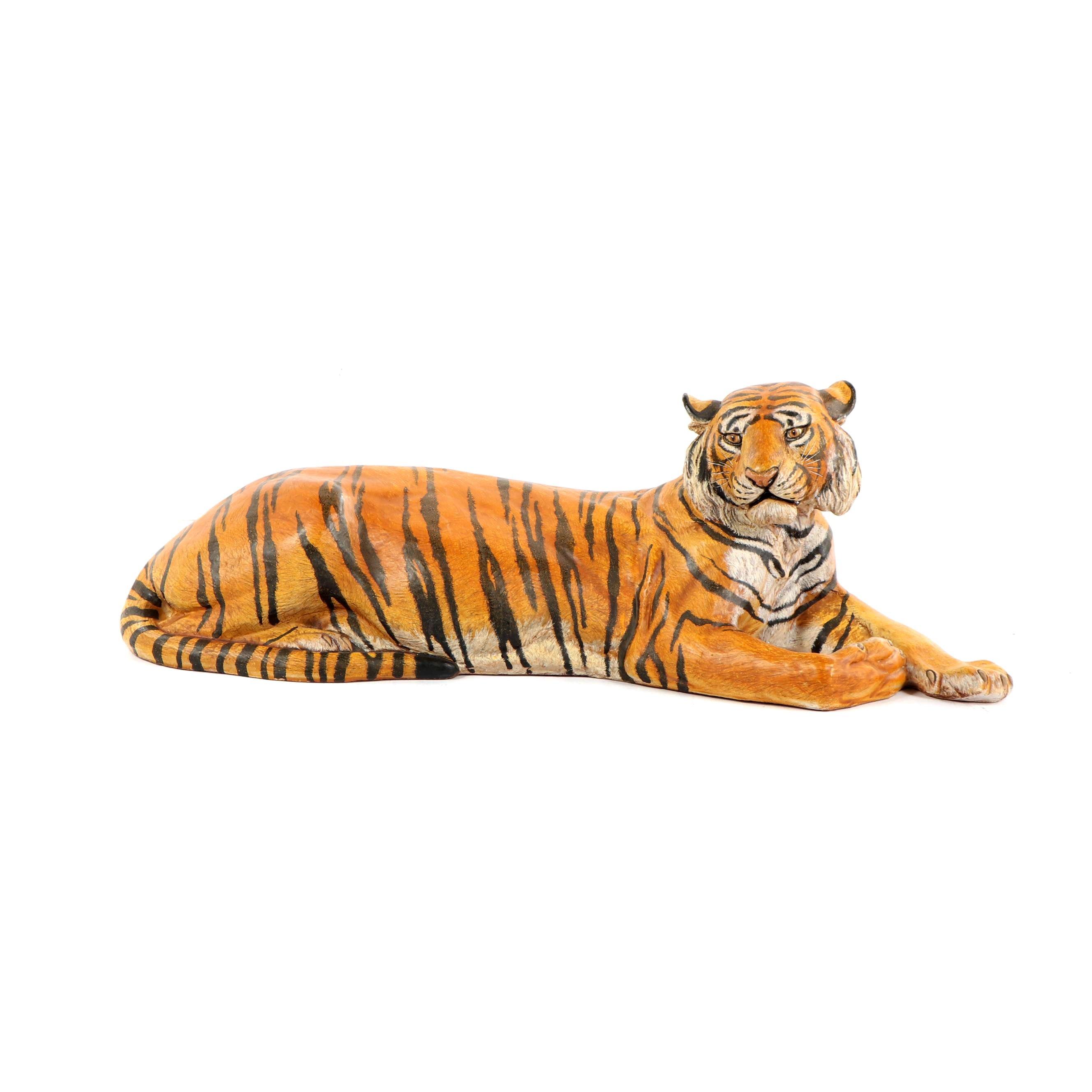 Italian Hand-Painted Terracotta Tiger Sculpture
