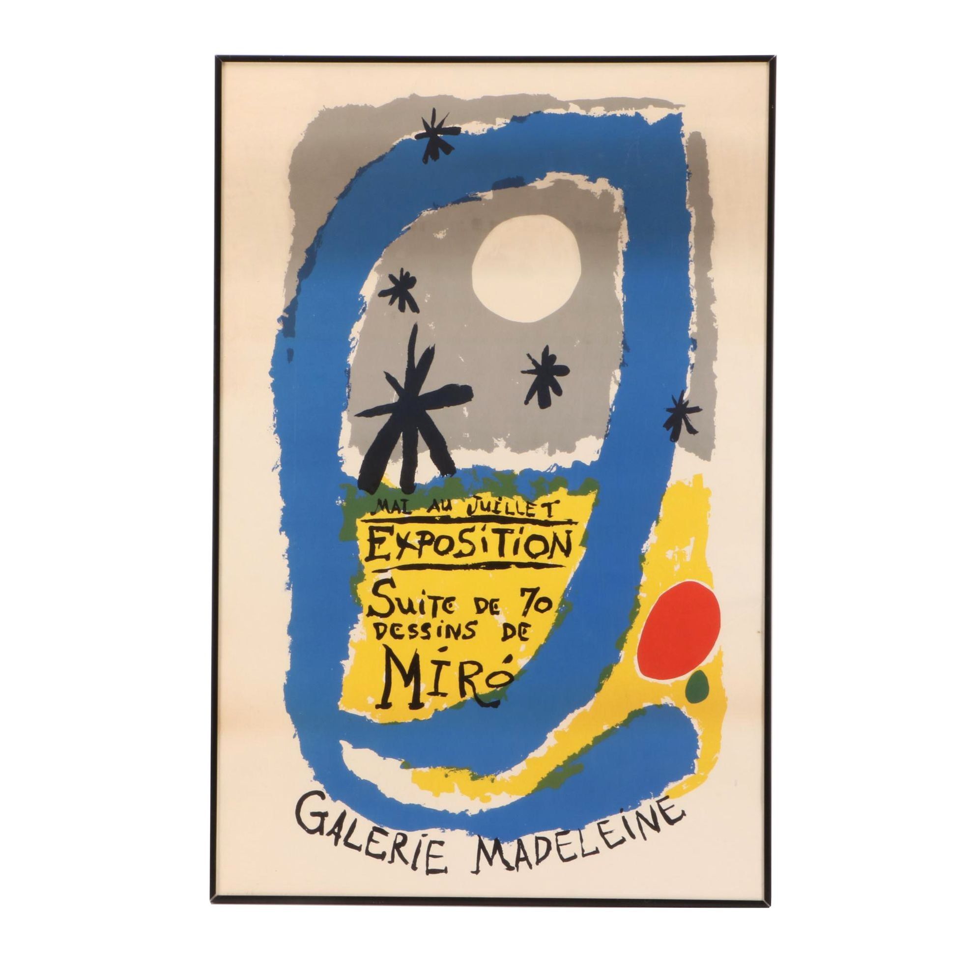 Lithographic Exhibition Poster for Joan Miró at Galerie Madeleine