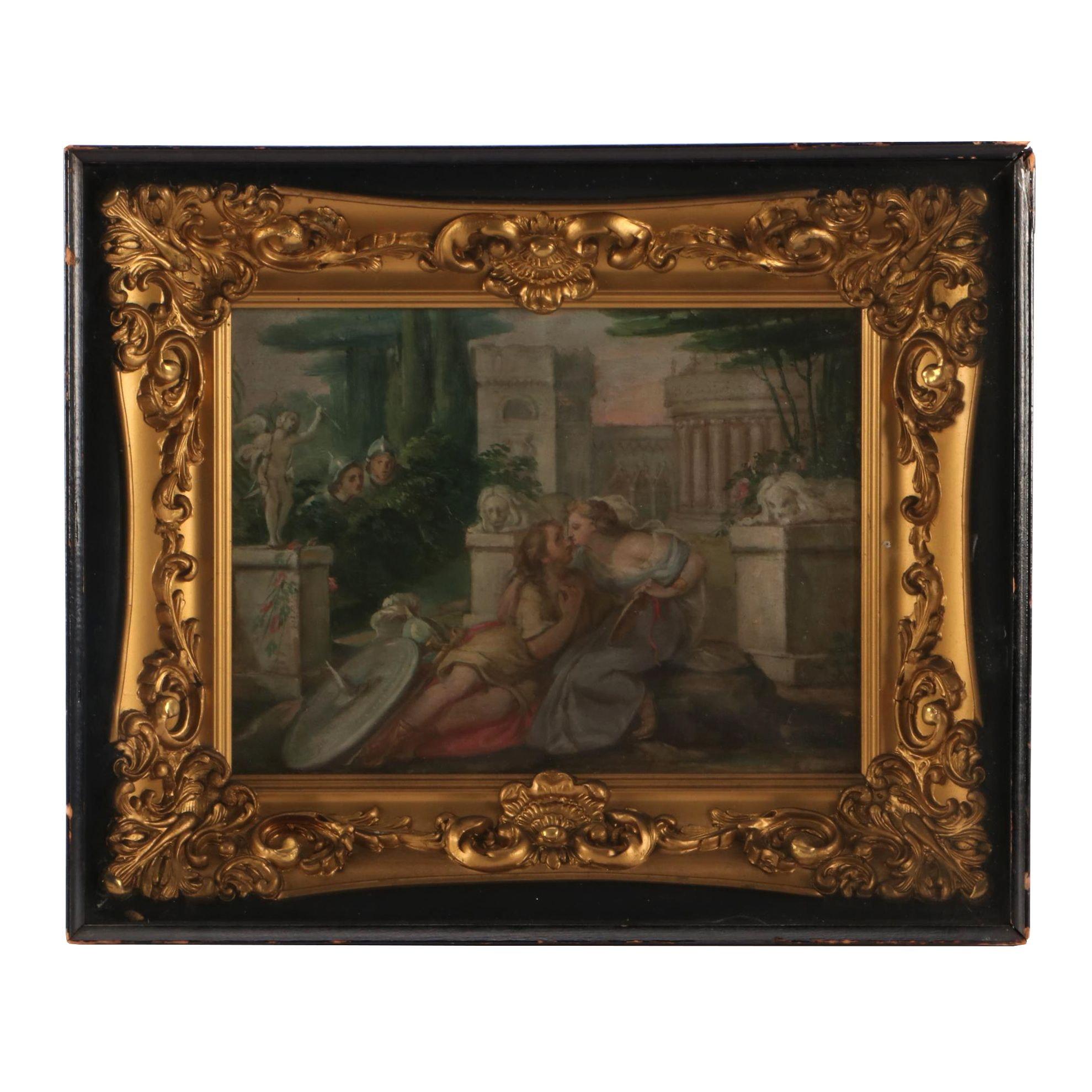 Antique Fête Galante Oil Painting on Canvas