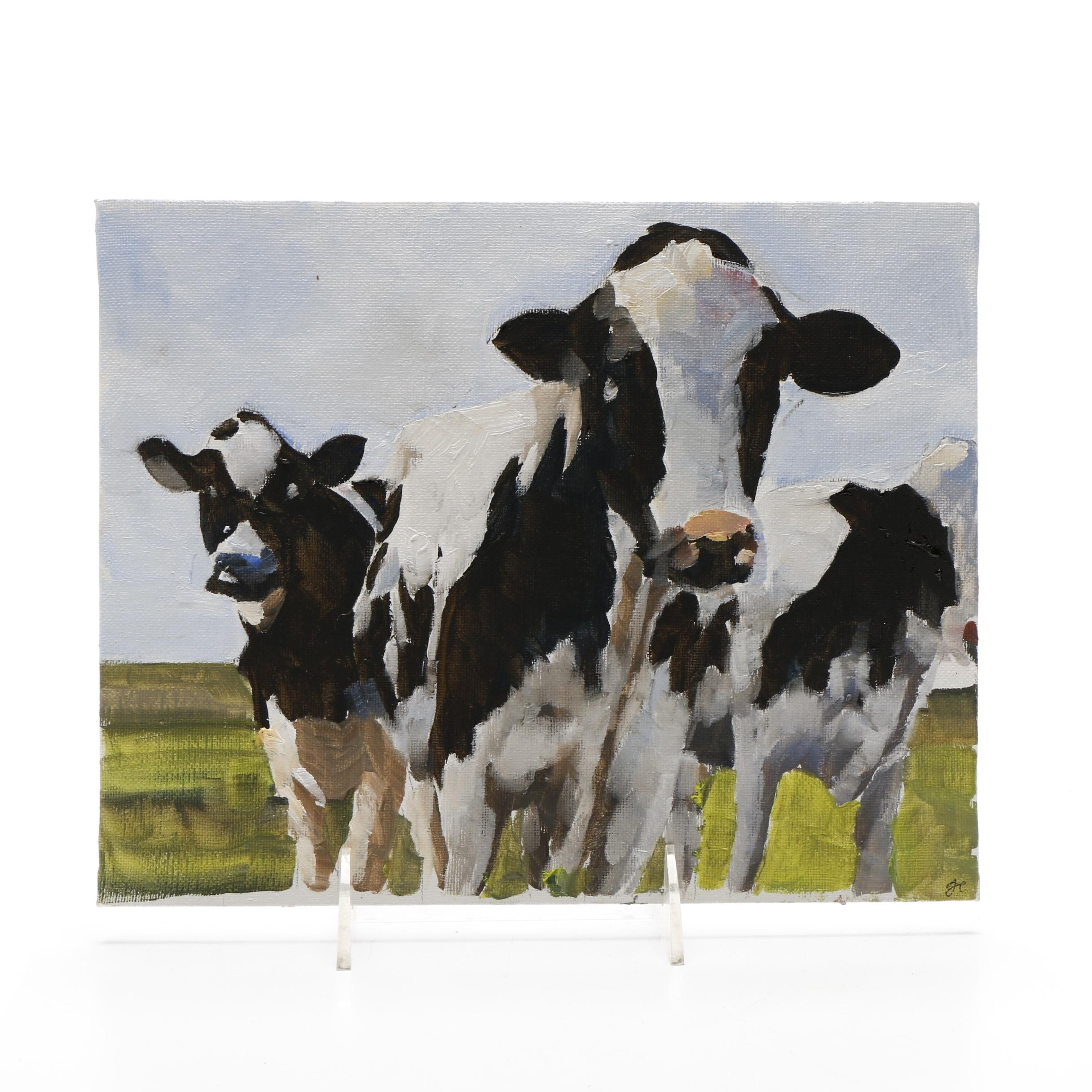 James Coates Oil Painting of Holstein Cattle