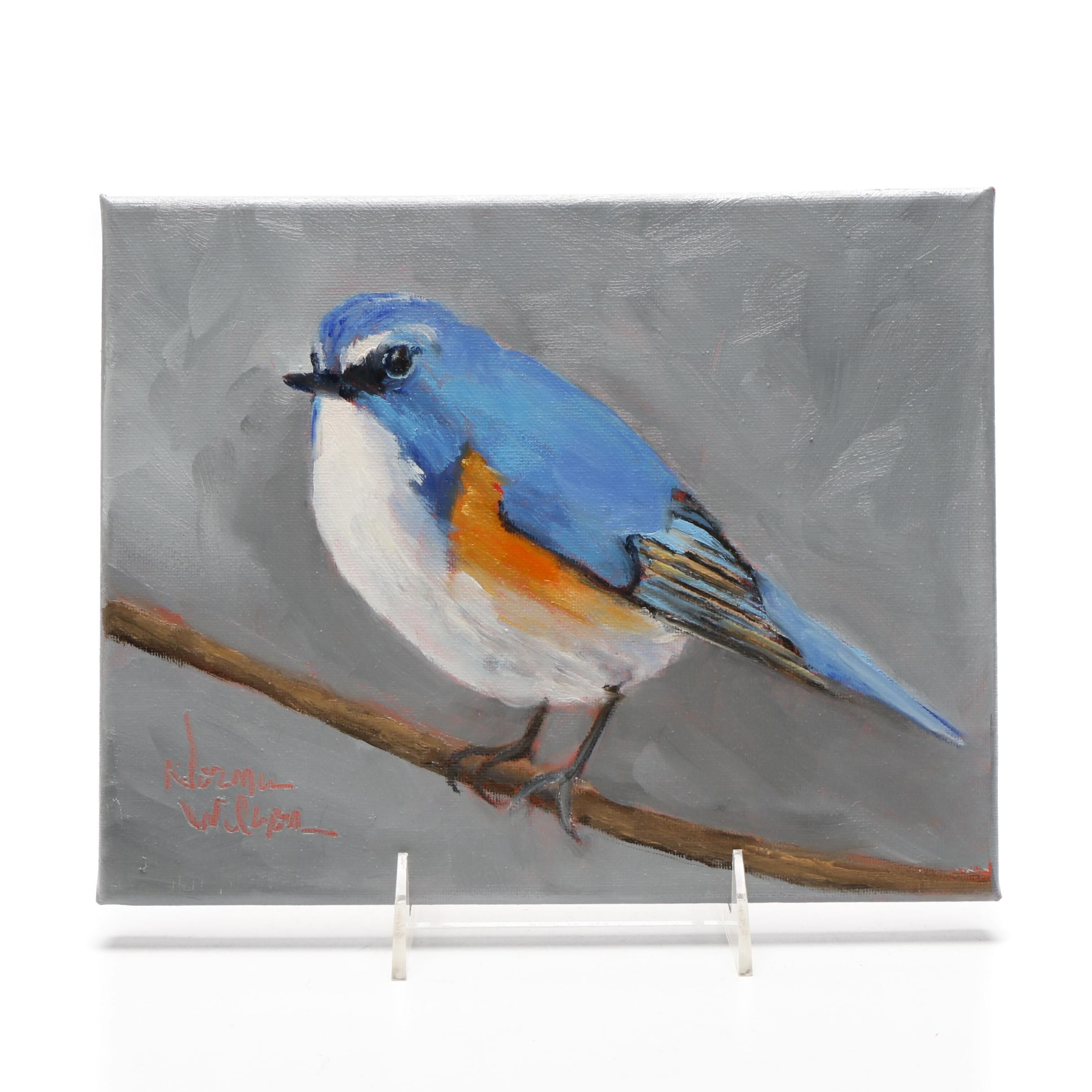 Norma Wilson Oil Painting of a Bluebird