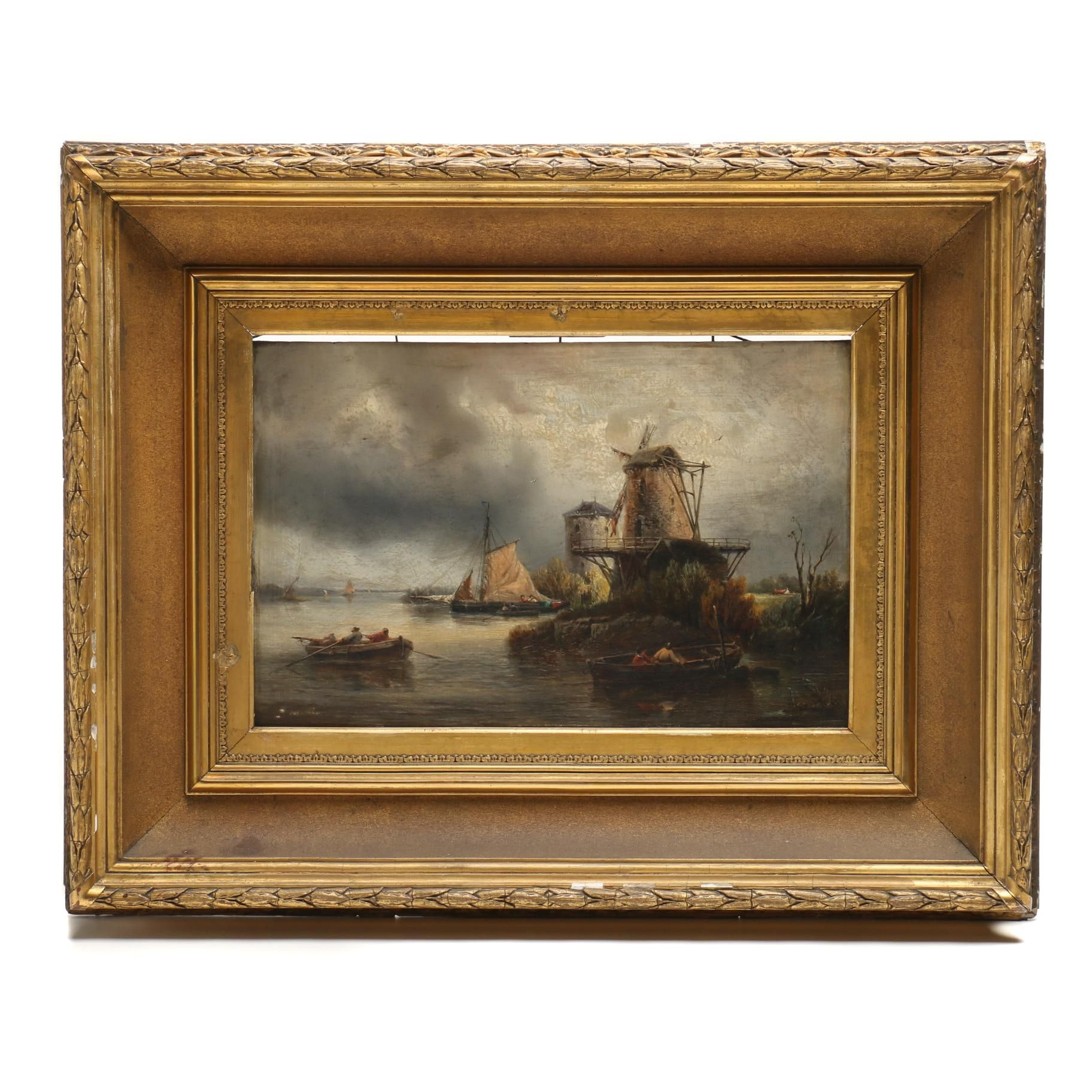 Late 19th Century Dutch Oil Painting of River Scene with Windmills