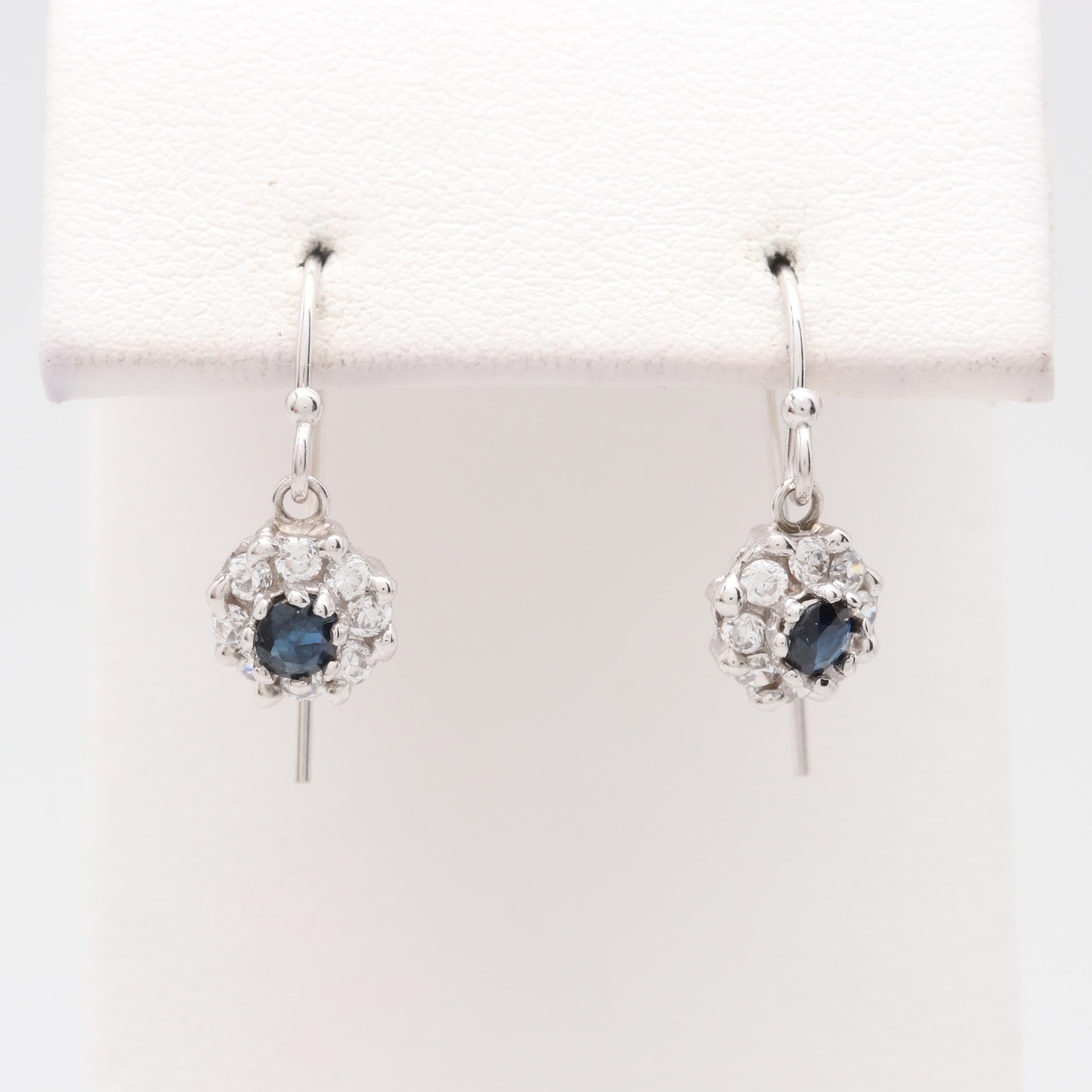 14K White Gold Blue Sapphire and Cubic Zirconia Floral Dangle Earrings