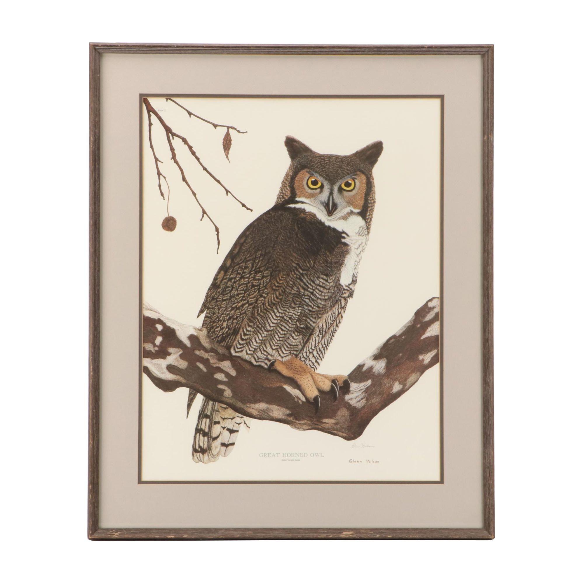 """Glenn Wilson Offset Lithograph """"Great Horned Owl"""""""
