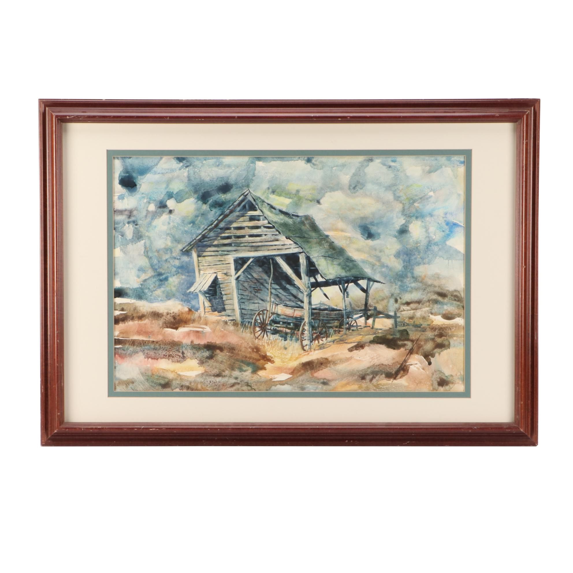 Mid-Century American Scene Watercolor Painting