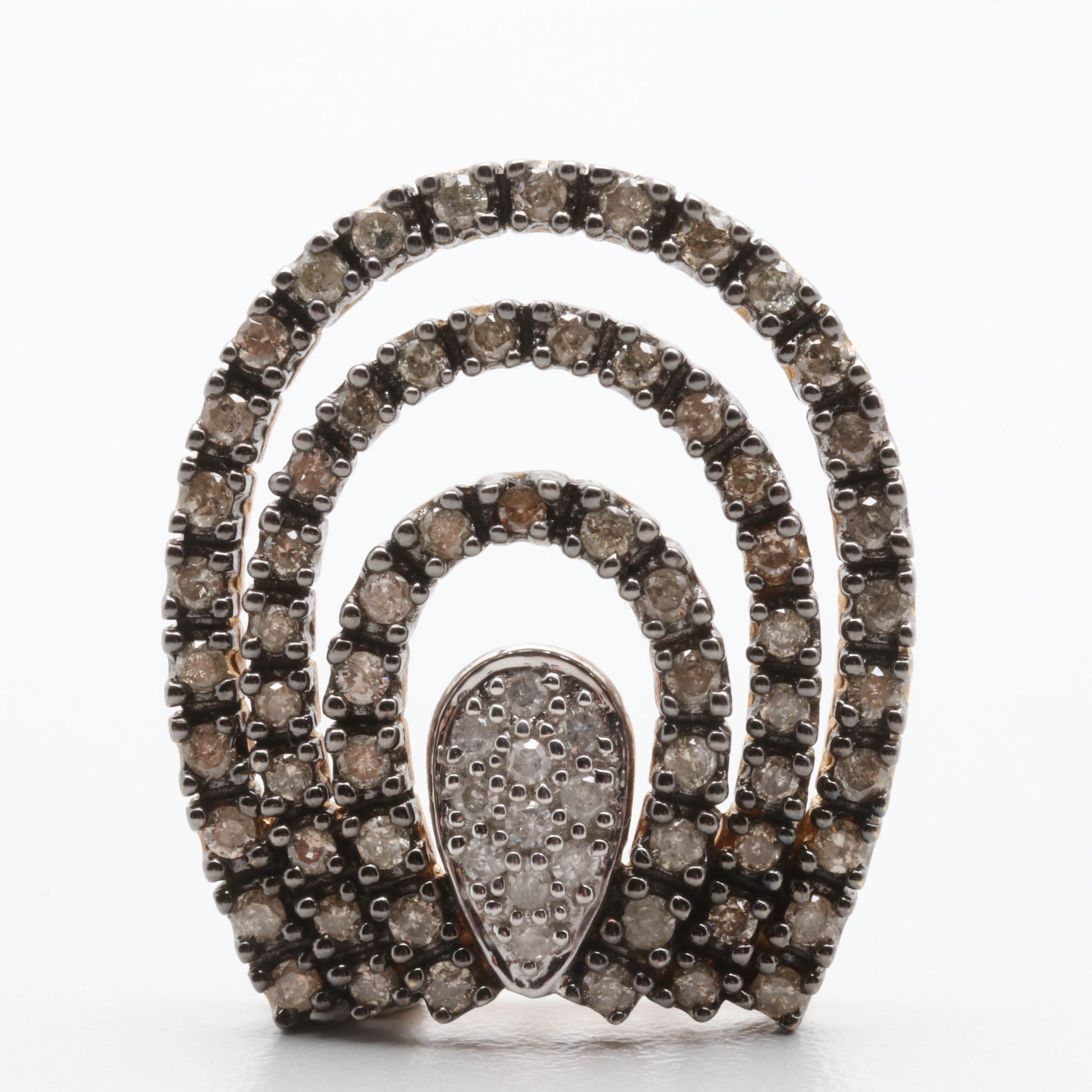 10K Yellow Gold Diamond Pendant with Black Finish