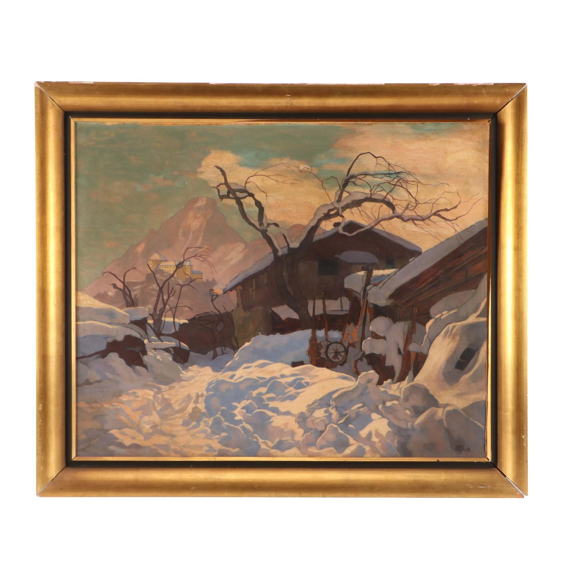 Early to Mid-Century Winter Landscape Oil Painting