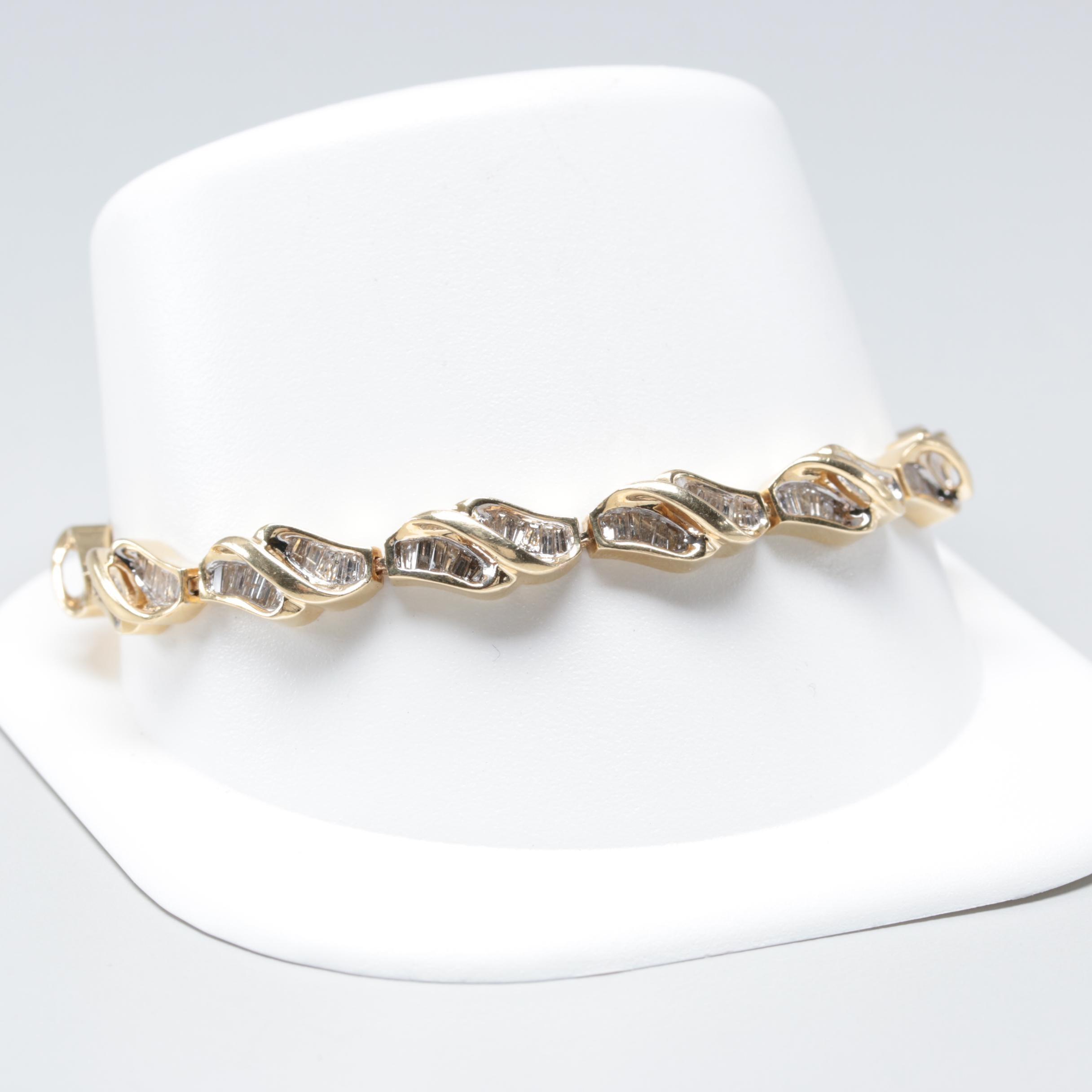 14K Yellow Gold 2.50 CTW Diamond Bracelet