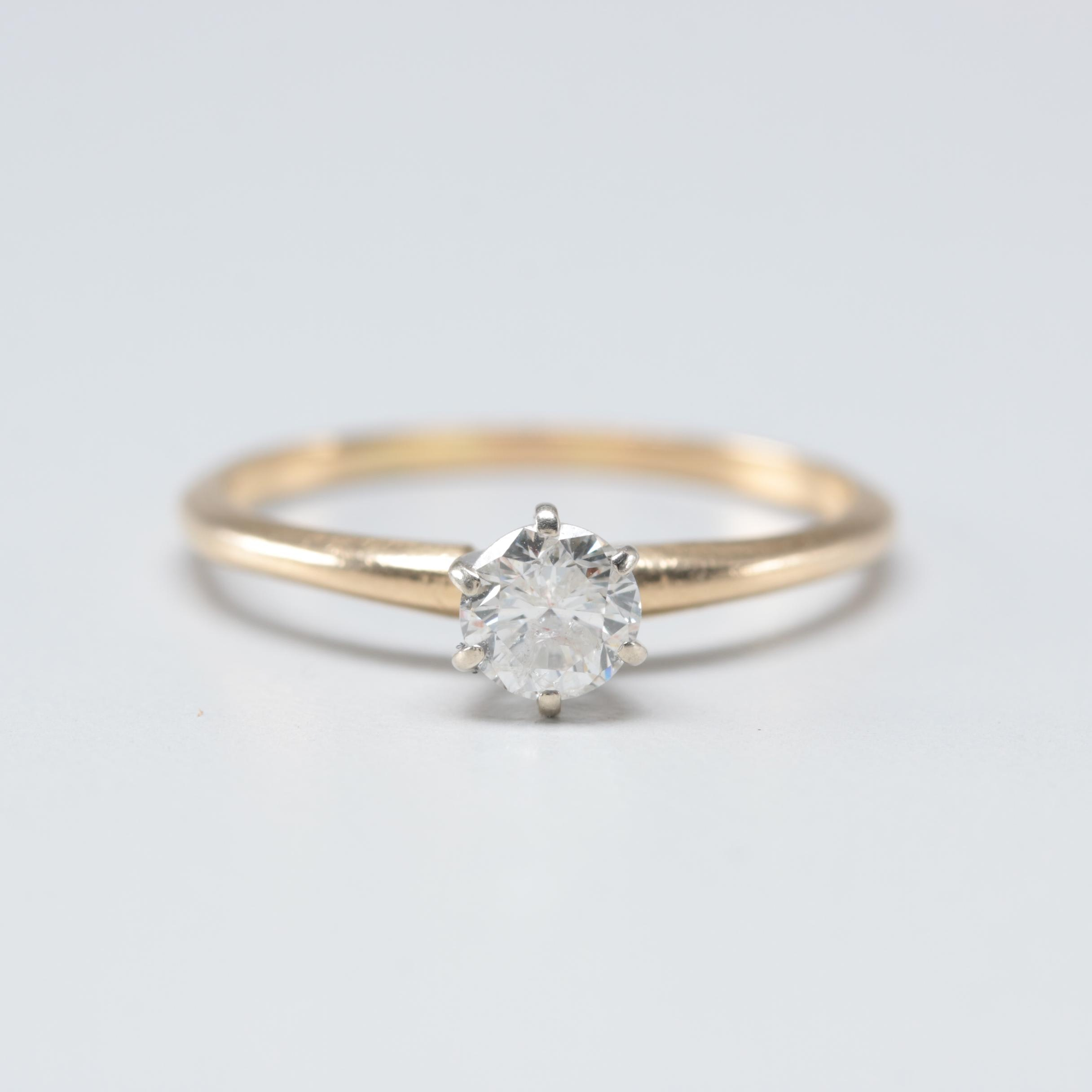 14K Yellow Gold Diamond Solitaire Ring with White Gold Accents