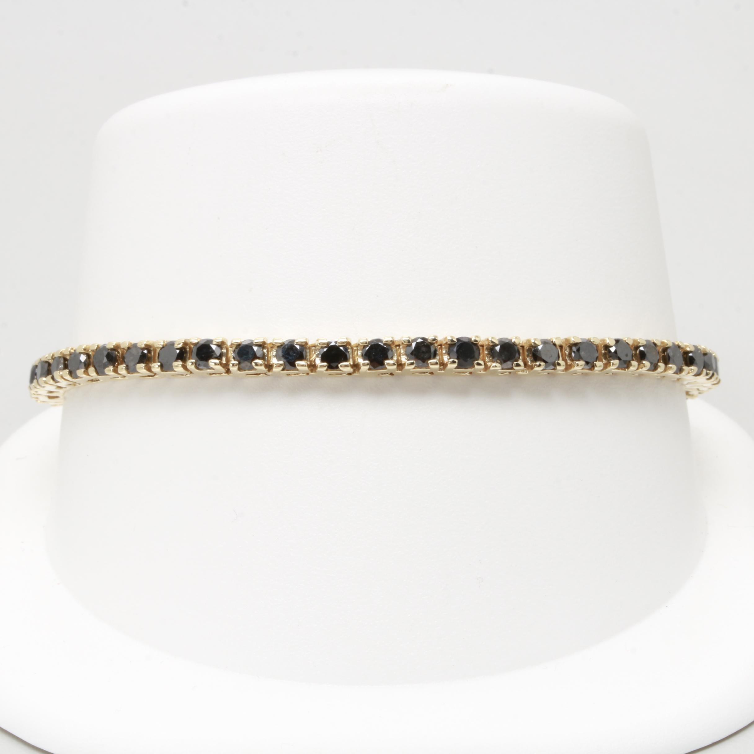 14K Yellow Gold 7.20 CTW Black Diamond Tennis Bracelet