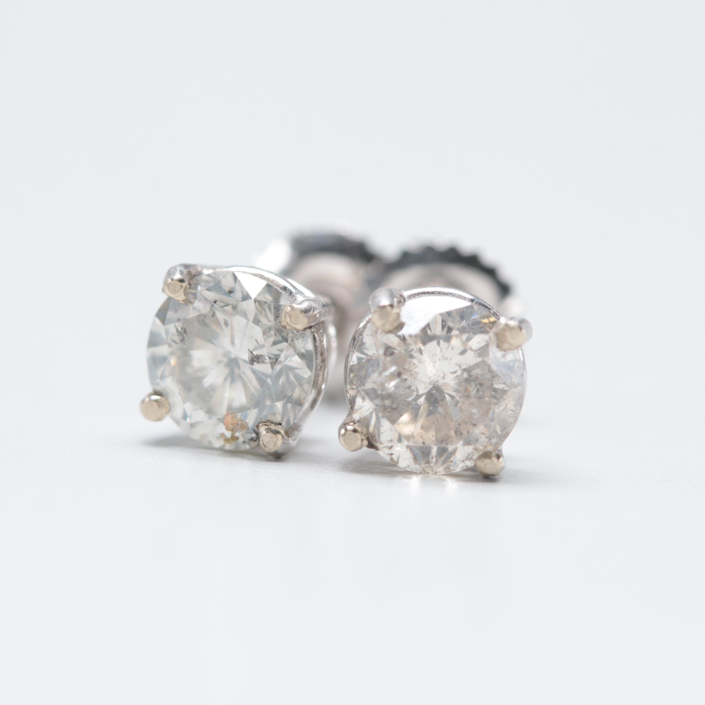 18K White Gold 1.51 CTW Diamond Stud Earrings