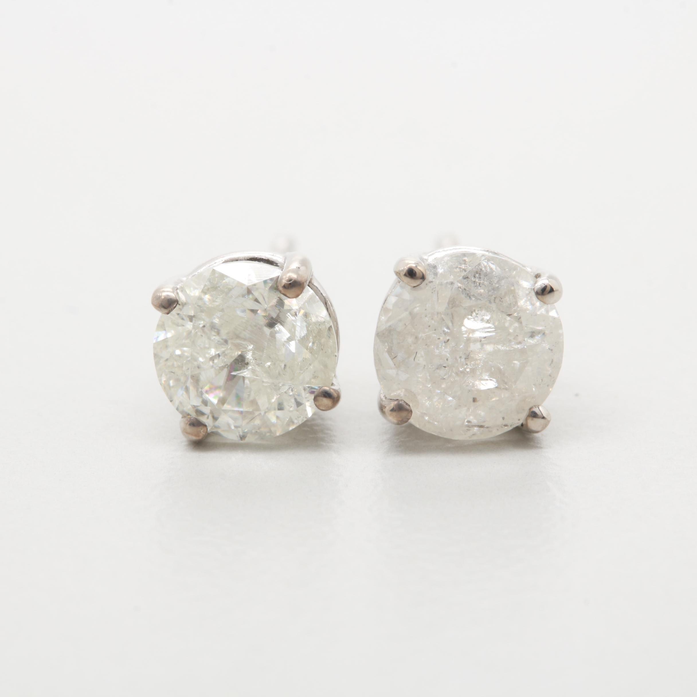 14K White Gold 1.33 CTW Diamond Stud Earrings