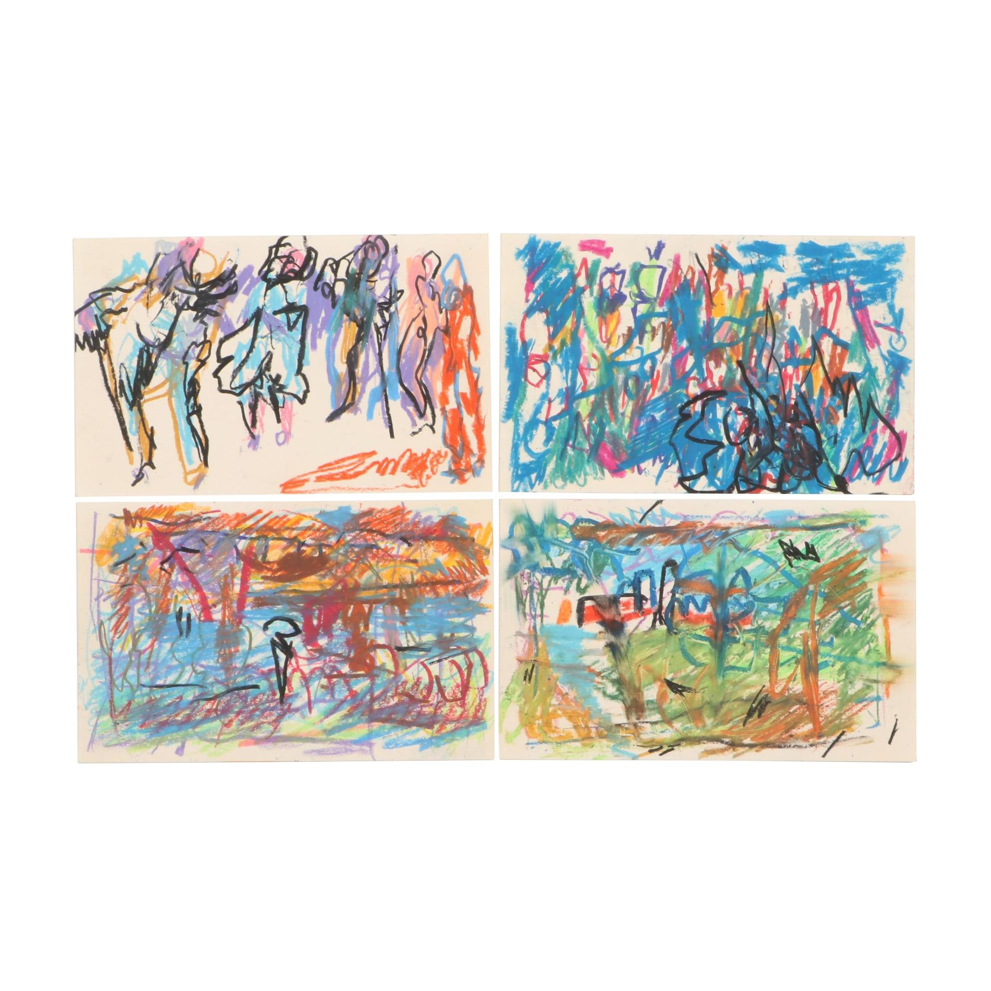 Paul Chidlaw Abstract Expressionist Pastel Drawings