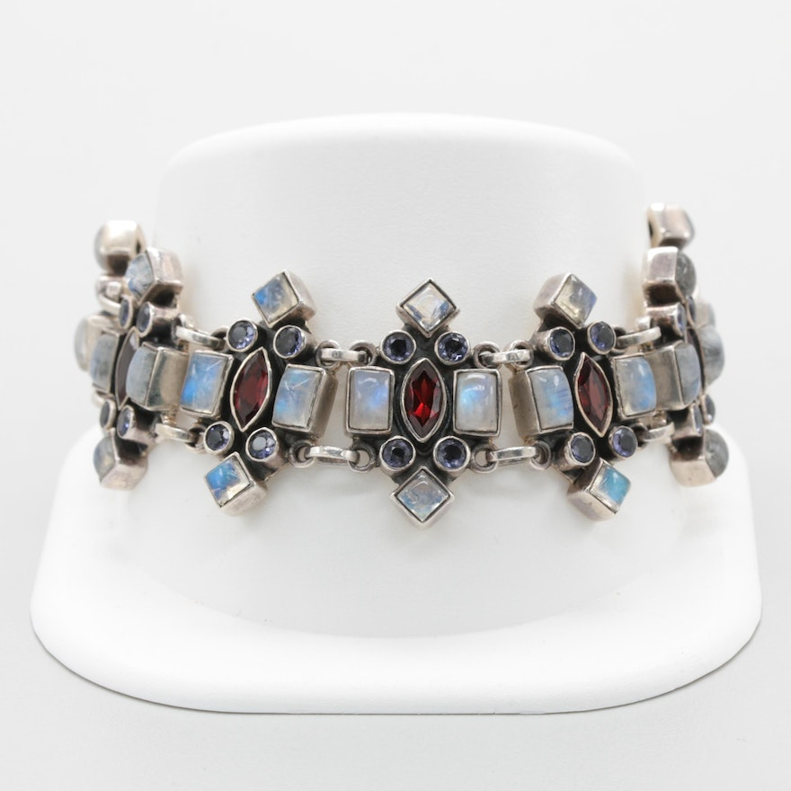 7f8aaa769322cd Nicky Butler Sterling Silver Bracelet with Garnet and Labradorite : EBTH