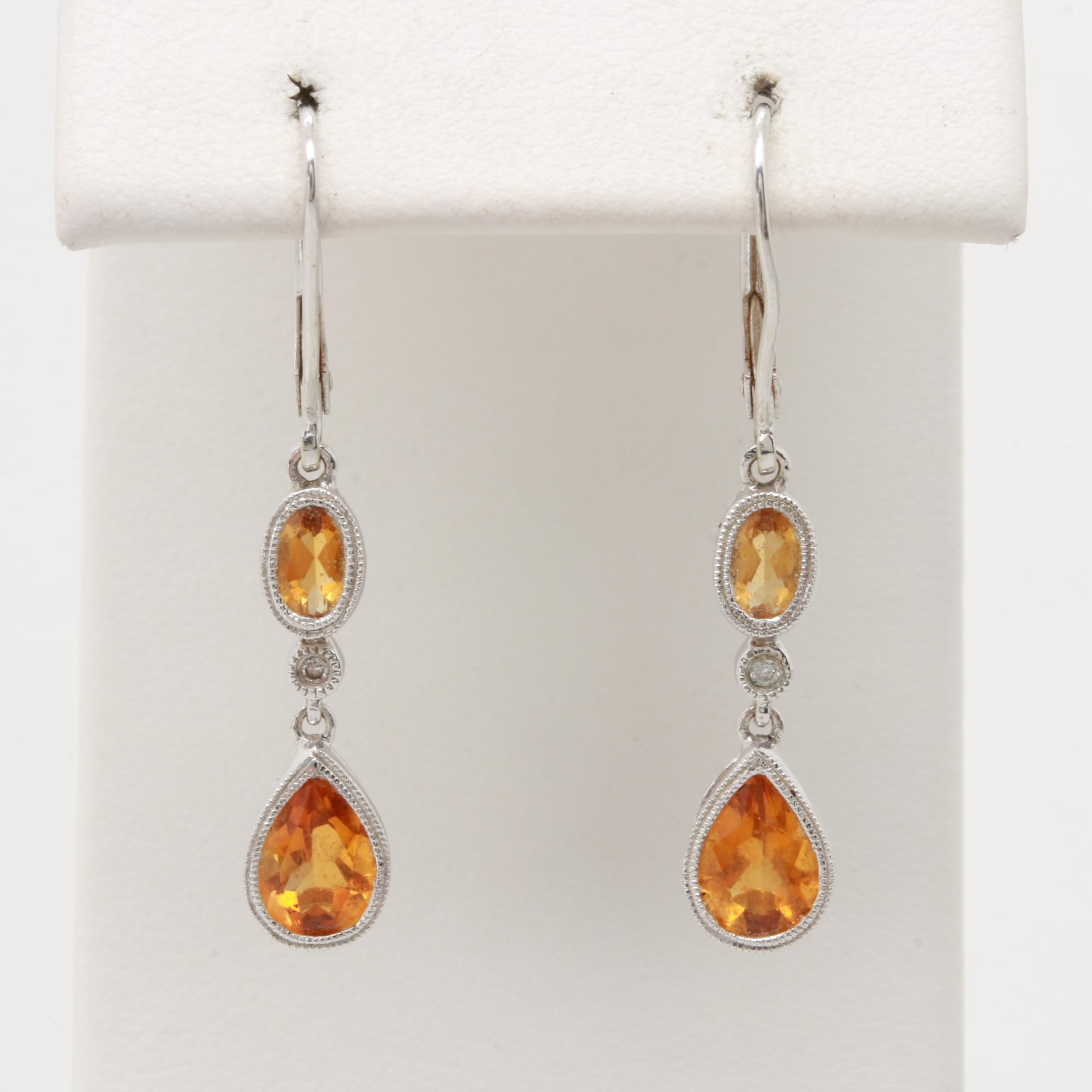 14K White Gold Citrine and Diamond Dangle Earrings