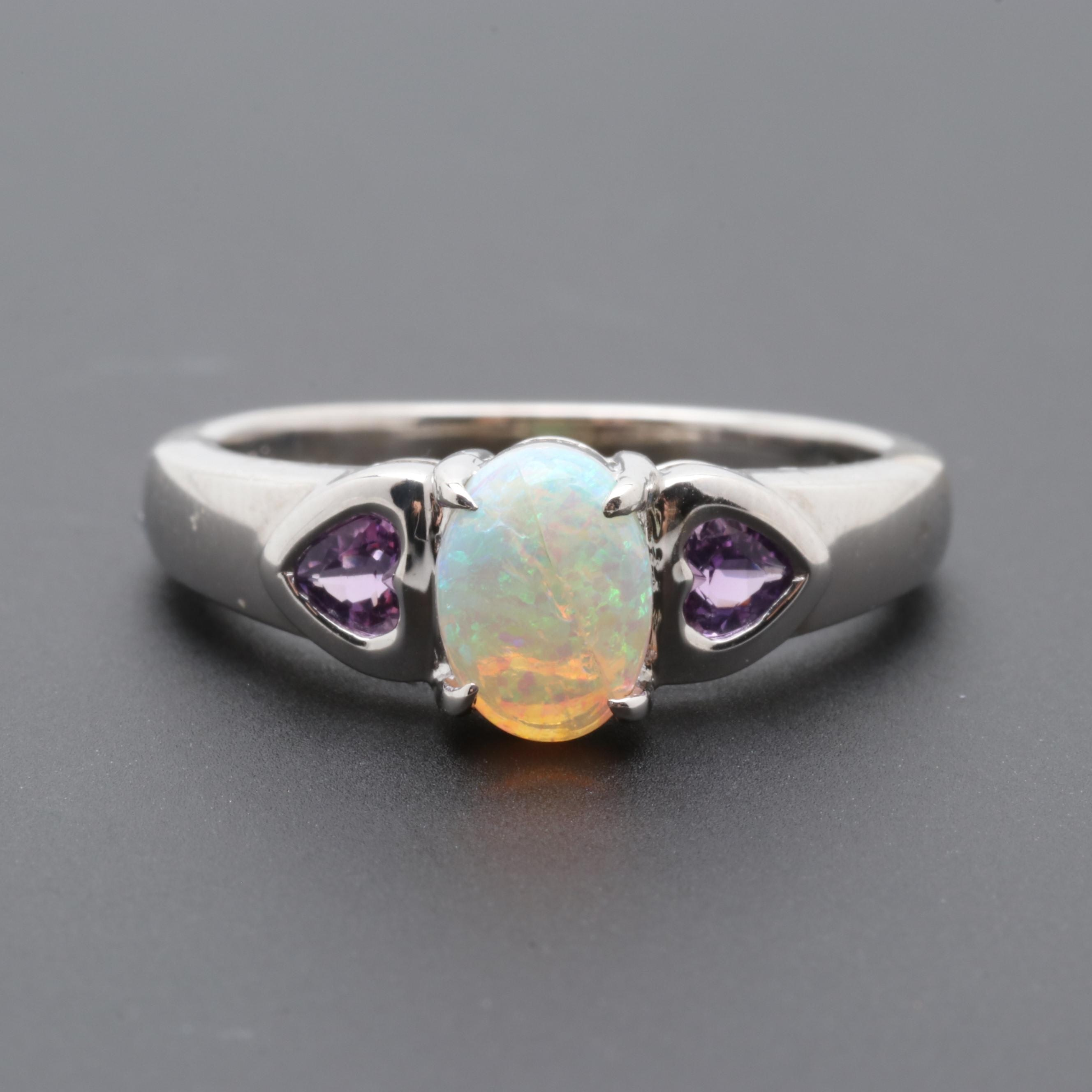 10K White Gold Opal and Amethyst Ring