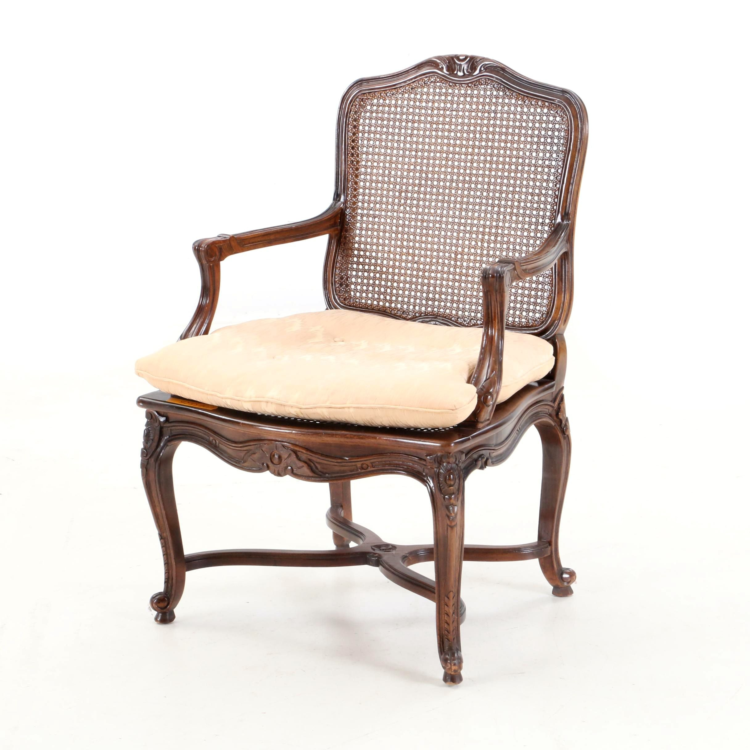 French Provincial Style Cane Panel Armchair, Late 20th Century
