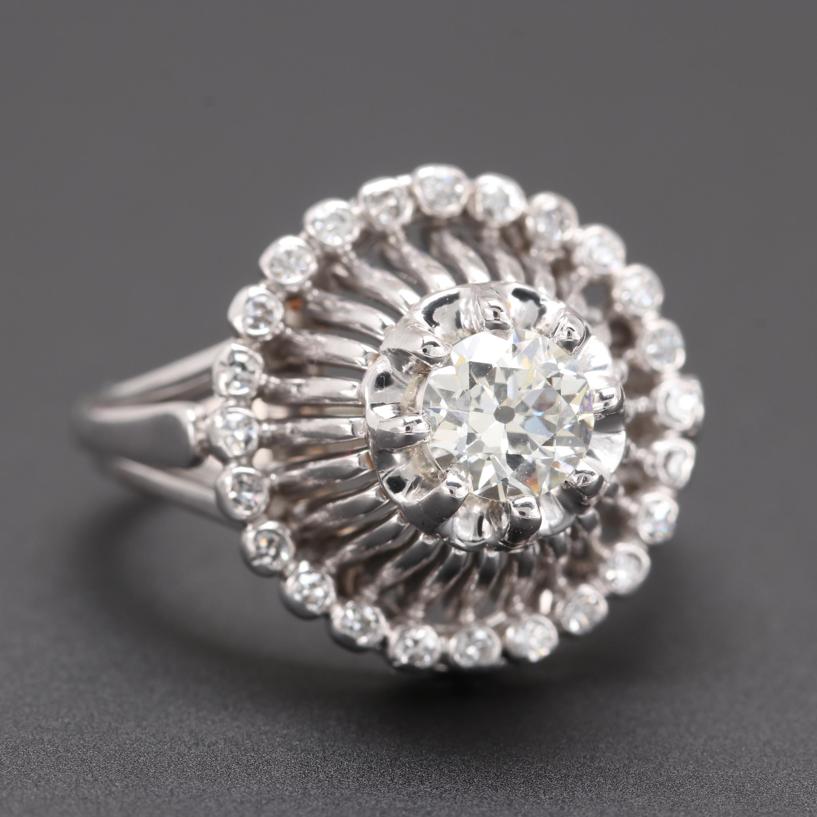 18K White Gold Diamond Halo Ring with GIA Report
