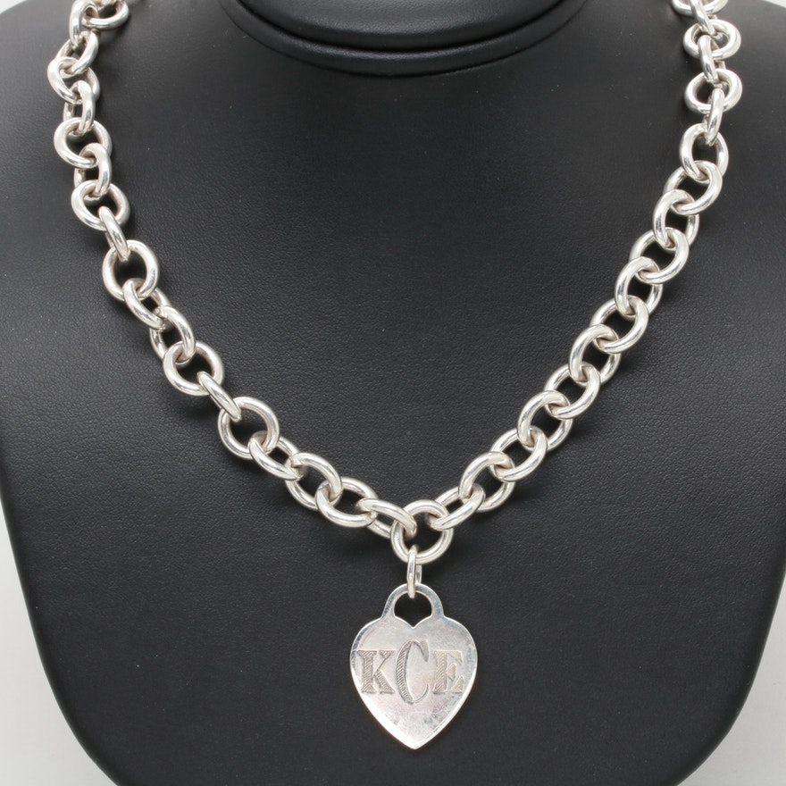 6f23e6256 Tiffany & Co. Sterling Silver Chunky Rolo Chain Necklace with Heart Charm  ...