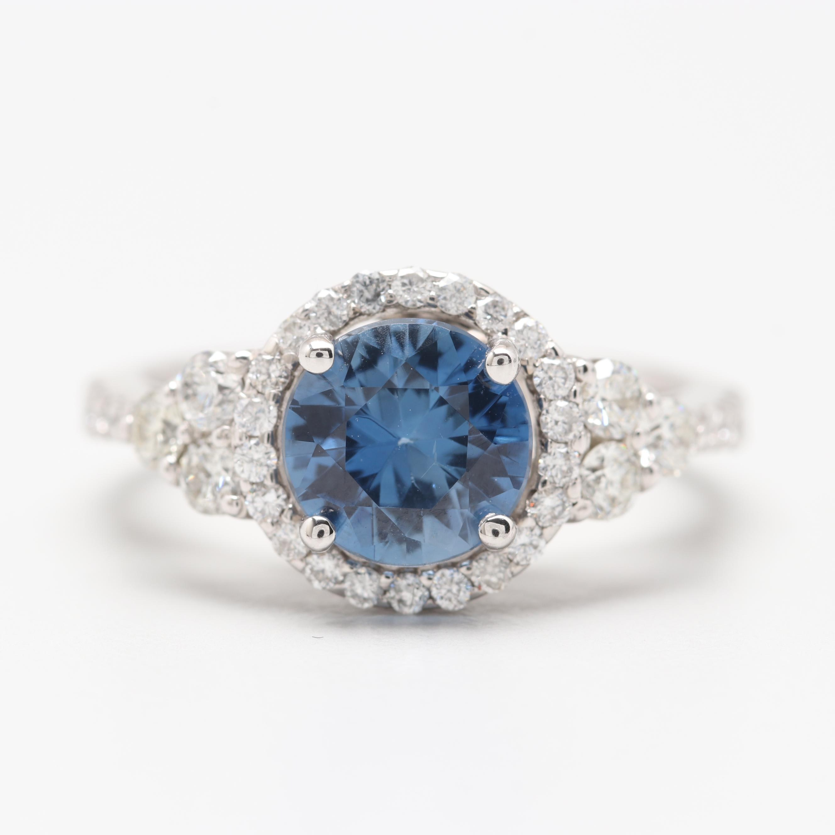 14K White Gold 1.79 CT Untreated Blue Sapphire and Diamond Ring with GIA Report