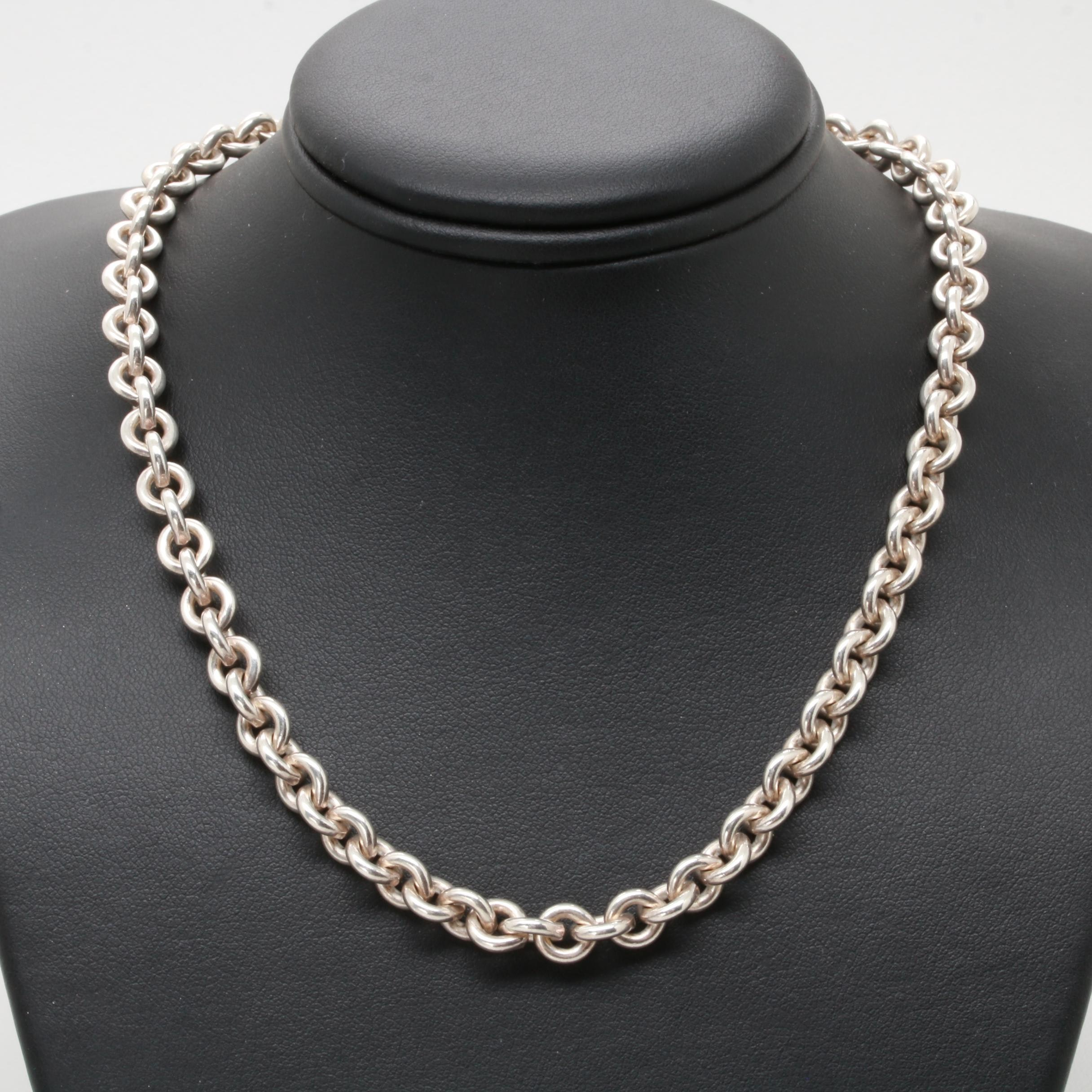 Guess Silver Tone Rolo Chain Necklace