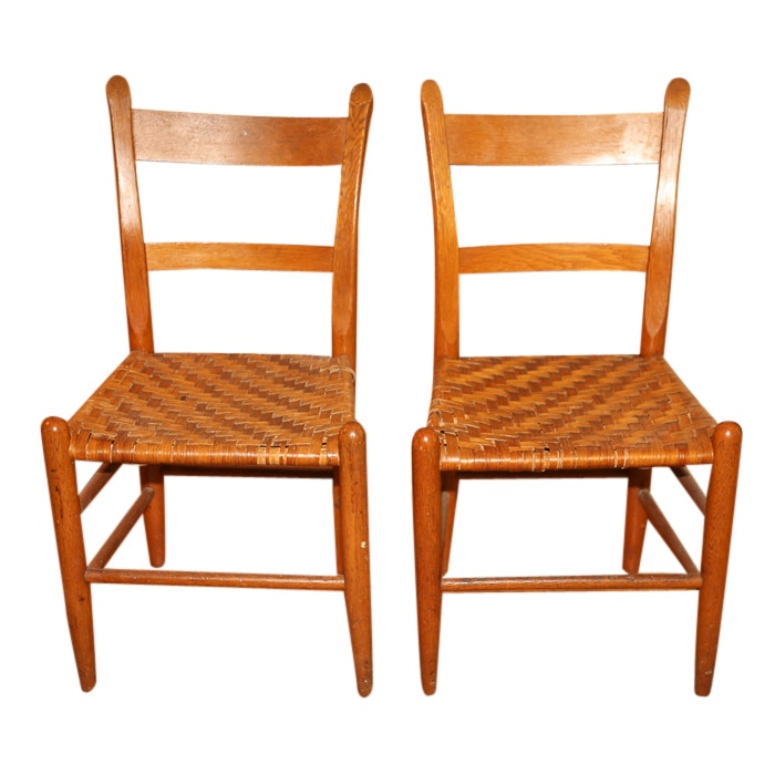 Slant Back Side Chairs with Woven Seats, Mid 20th Century