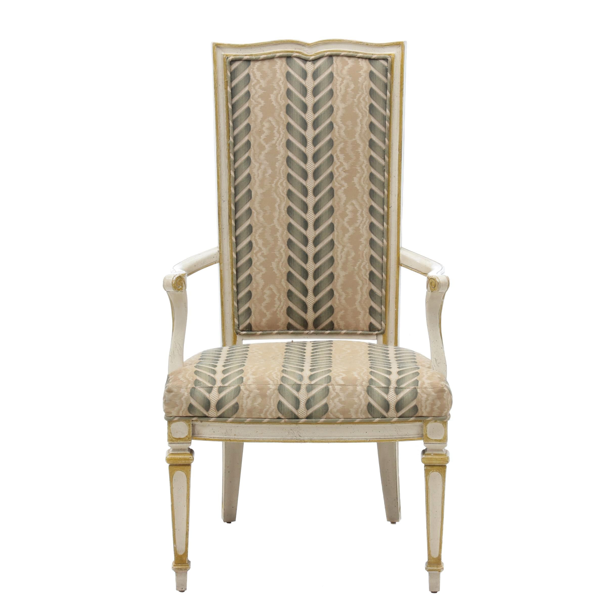 Louis XVI Style Upholstered Armchair, Late 20th Century
