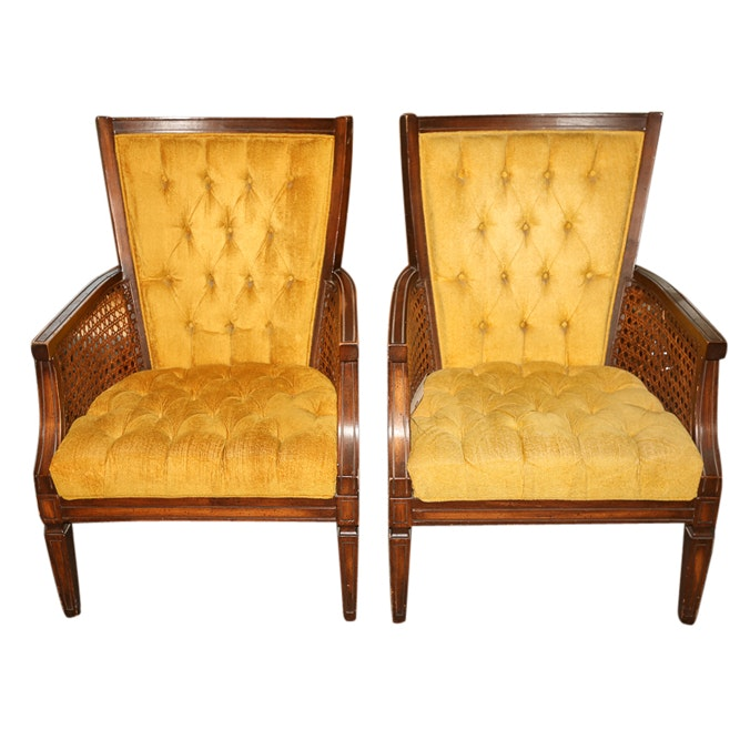 Mid-Century Upholstered Cane Panel Armchairs by Levitz, Mid 20th Century