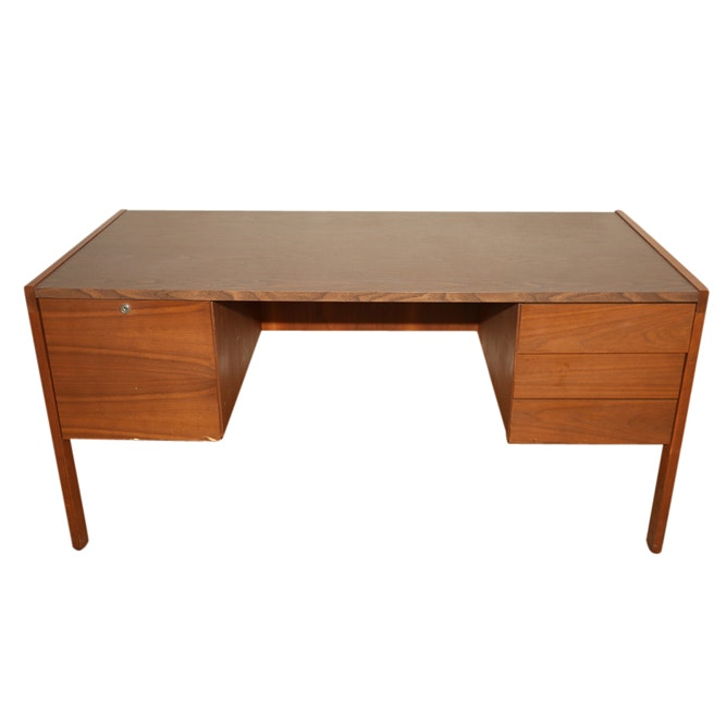 Mid Century Modern Walnut Office Desk by Biltrite, Mid 20th Century