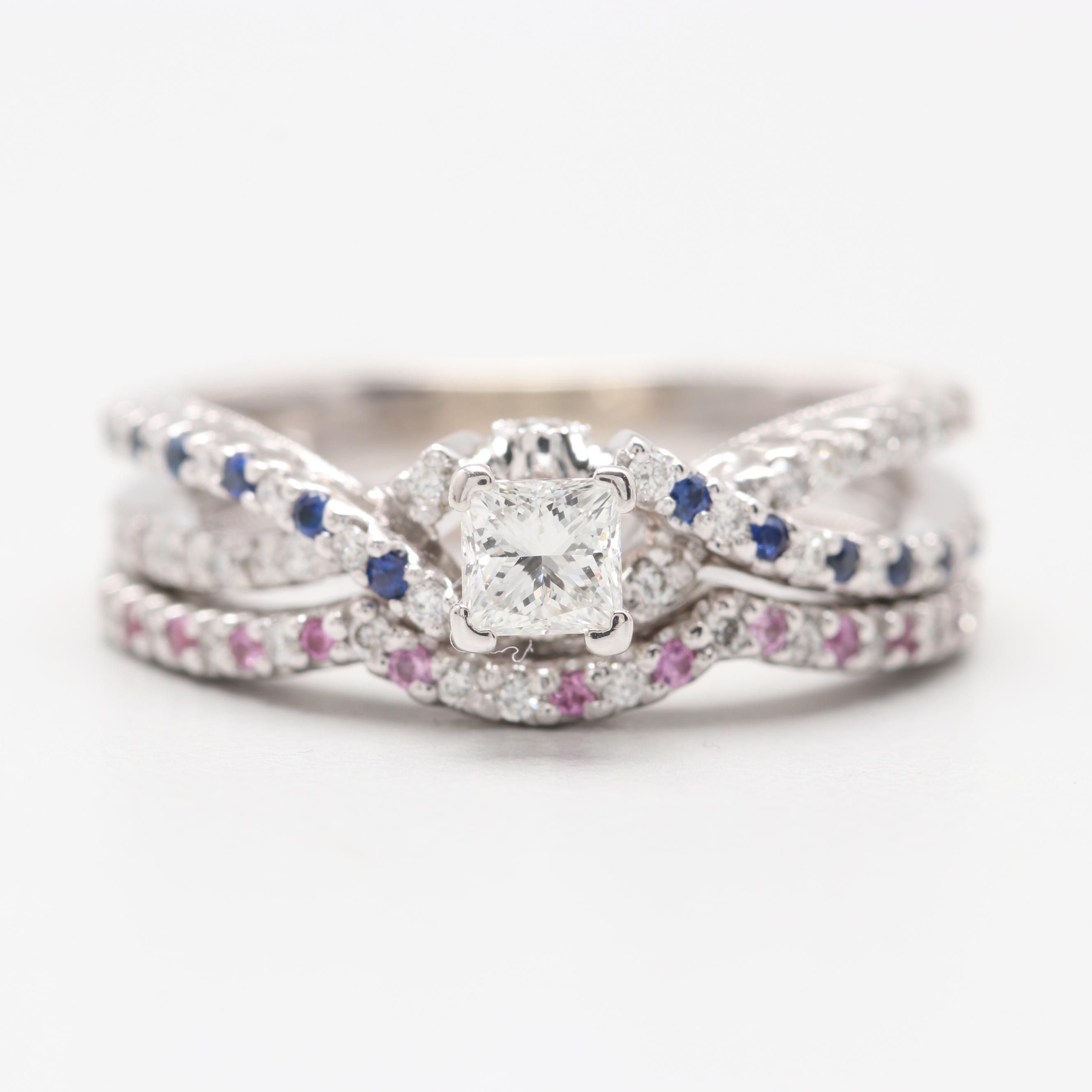 14K White Gold 0.55 CTW Diamond and Sapphire Bridal Ring Set