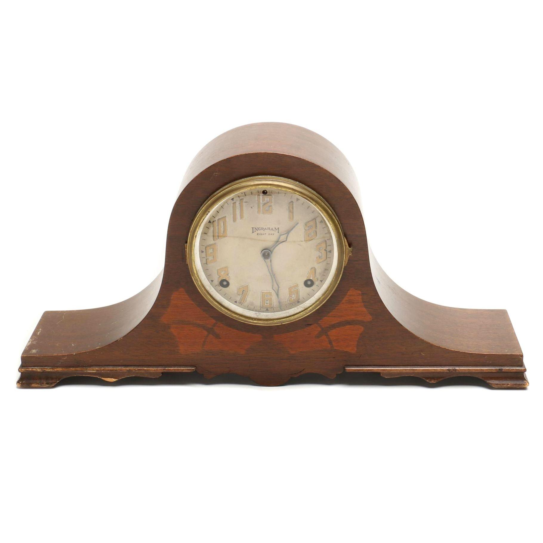 """Antique Ingraham """"Duplex"""" Tambour Clock"""