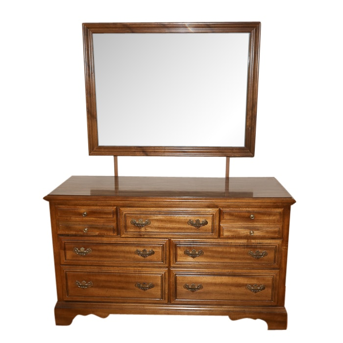 Colonial Style Dresser and Mirror by American Drew, Late 20th Century