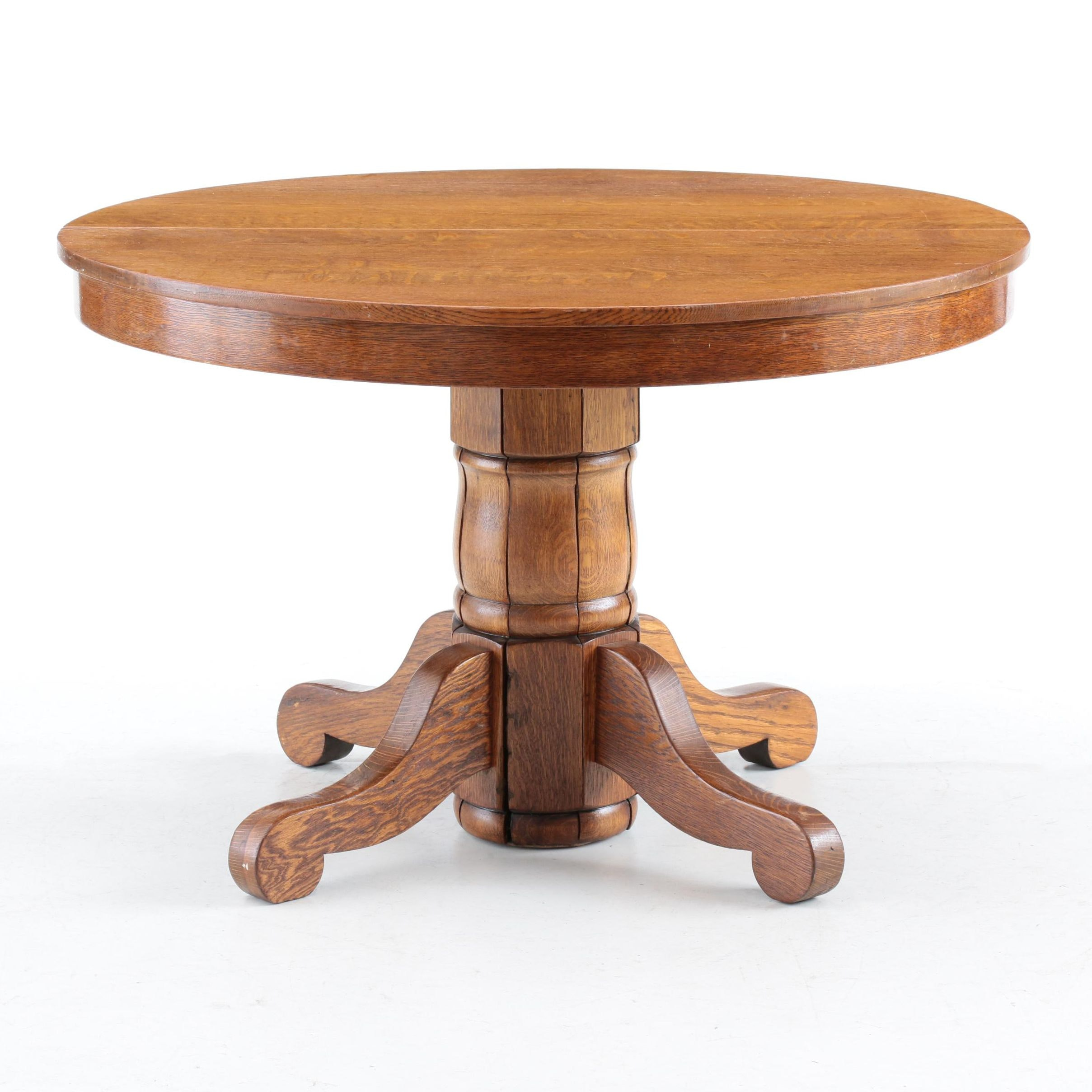 Oak Pedestal Dining Table, Late 20th Century