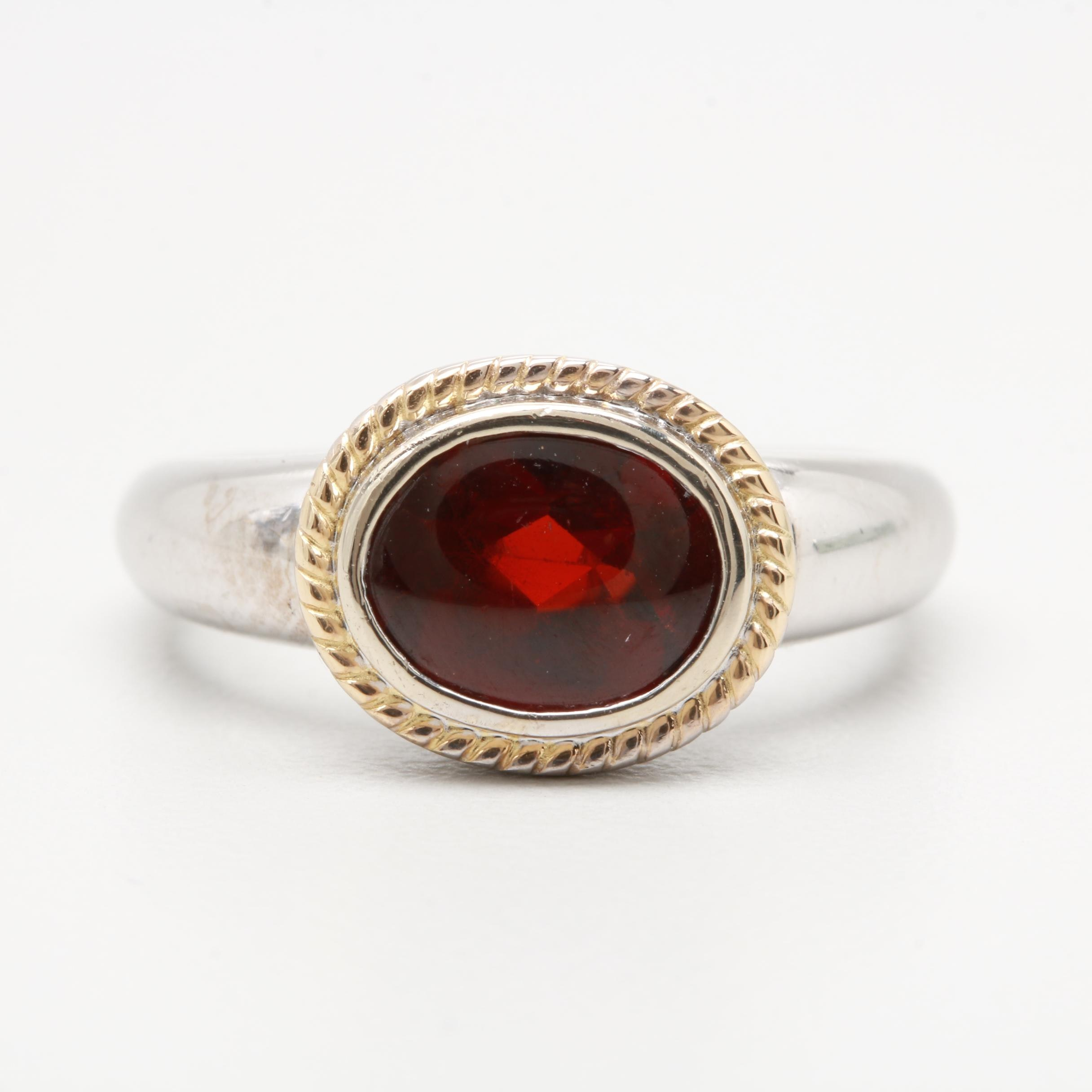 14K White Gold Garnet Ring with 14K Yellow Gold Accents