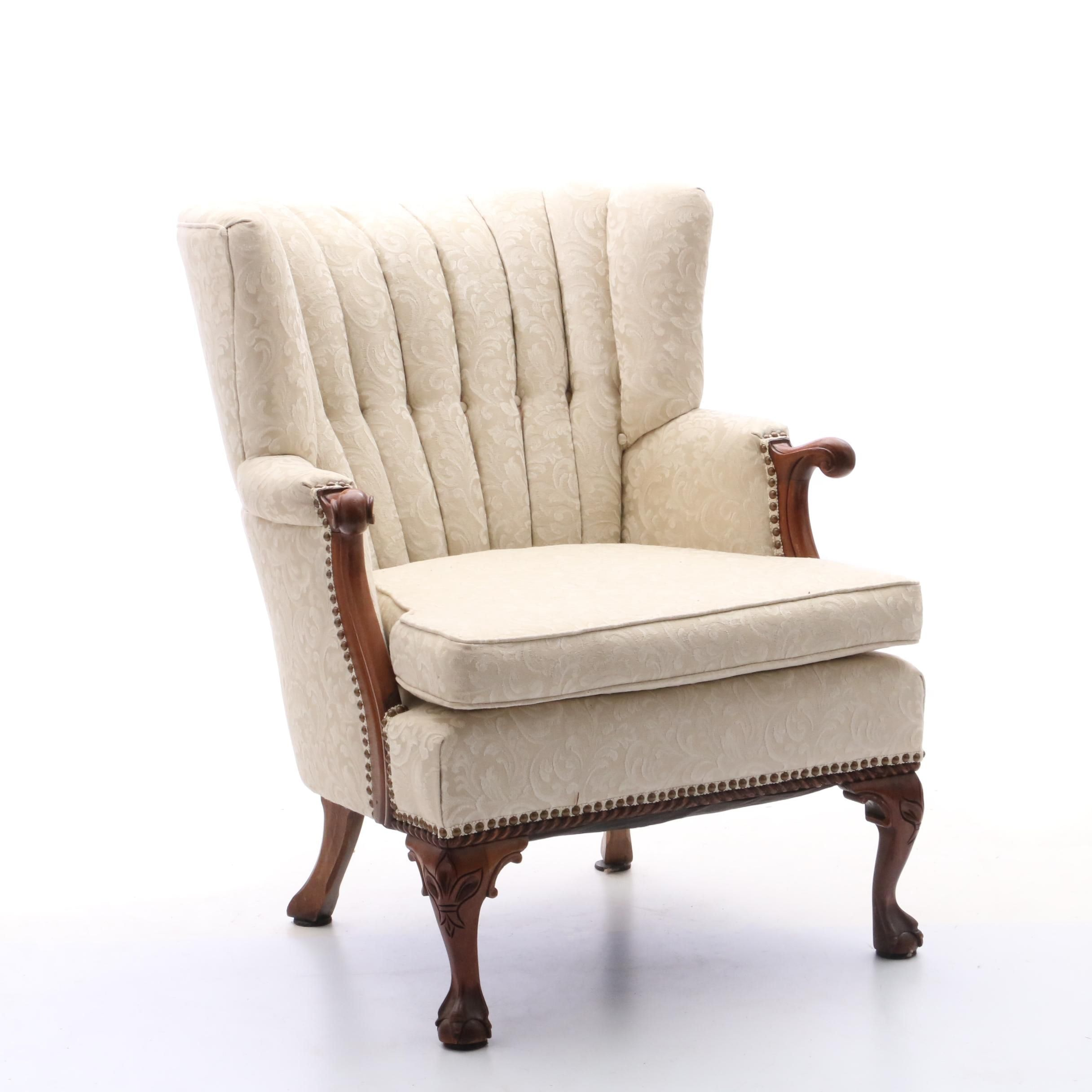 Queen Anne Style Upholstered Wingback Armchair, Late 20th Century