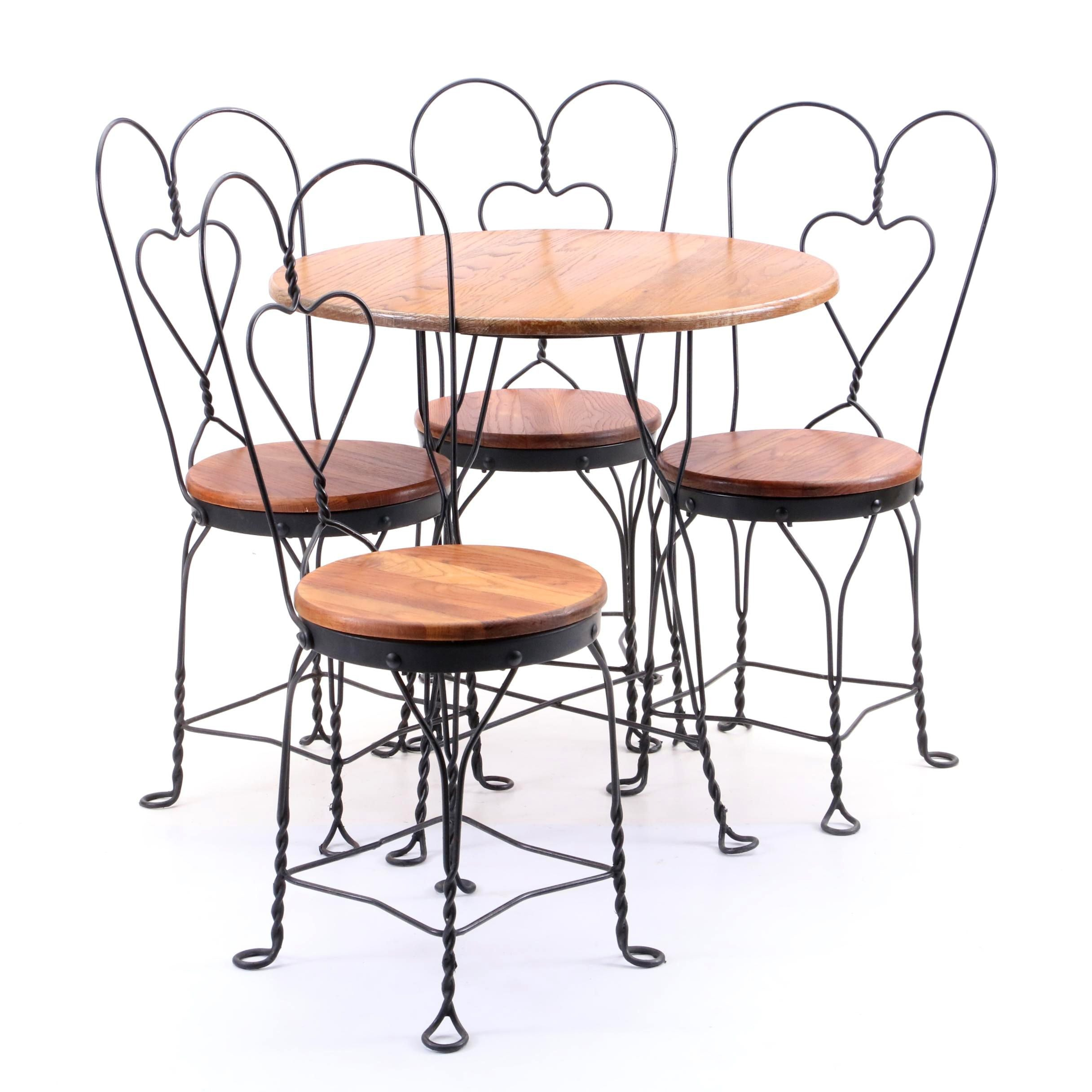 Contemporary Oak and Metal Cafe Table and Chairs